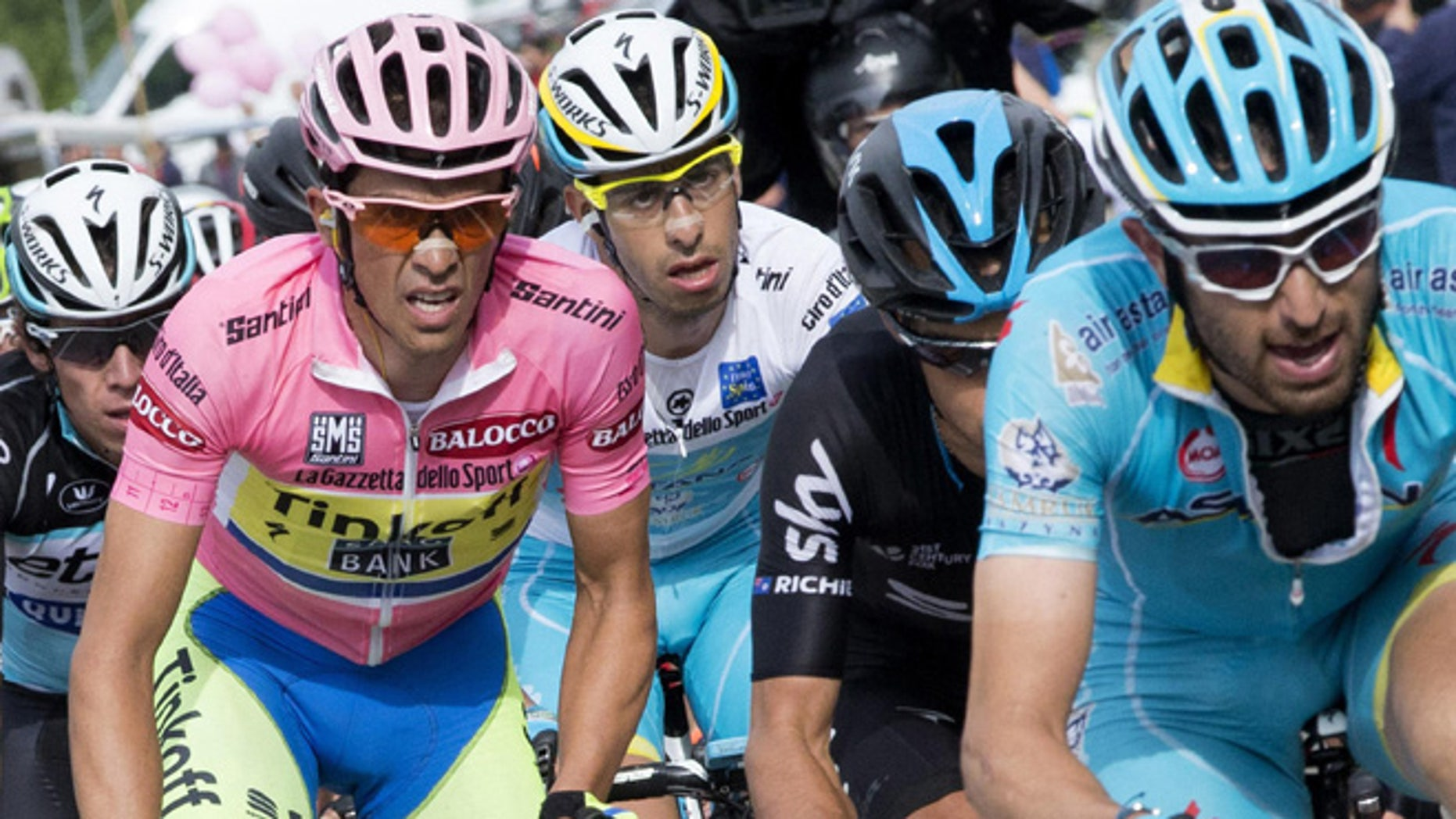 Overall leader Alberto Contador, of Spain, wears the pink jersey during the eight leg of the Giro d'Italia, Tour of Italy cycling race  from  Fiuggi to Campitello Matese, Italy, Saturday, May 16, 2015. (Claudio Peri/ANSA via AP)  ITALY OUT