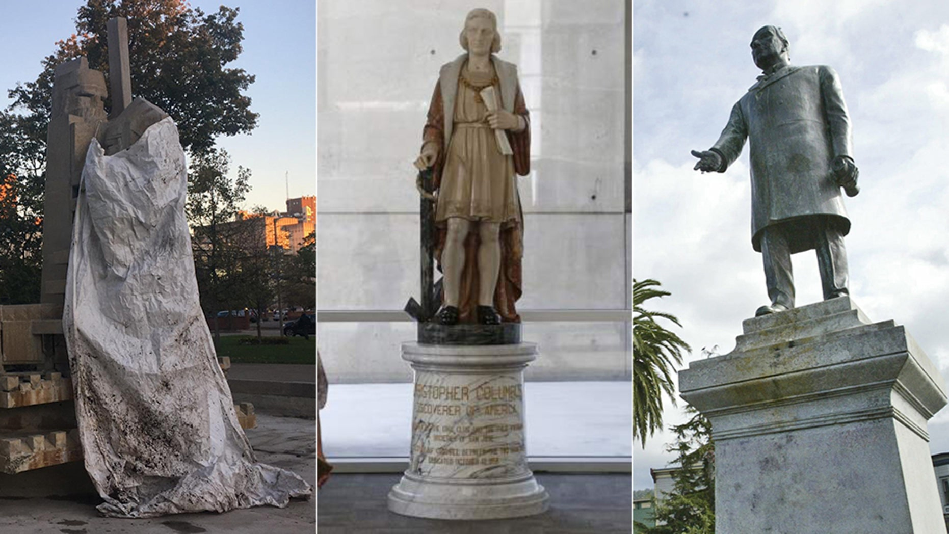 Arcata, Calif., is poised to remove its statue of William McKinley, right, amid outcry over the president's treatment of Native Americans. San Jose removed a statue of Christopher Columbus, center, from its city hall, while Kalamazoo, Mich., vowed to remove a statue of a Native American kneeling before a pioneer, left.