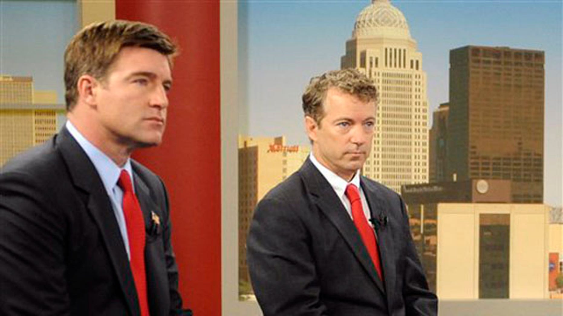 Candidates for Kentucky Senate, Democrat Jack Conway, left, and Republican Rand Paul prepare for a 'Fox News Sunday' debate in Louisville, Ky., Oct. 3. (AP Photo)