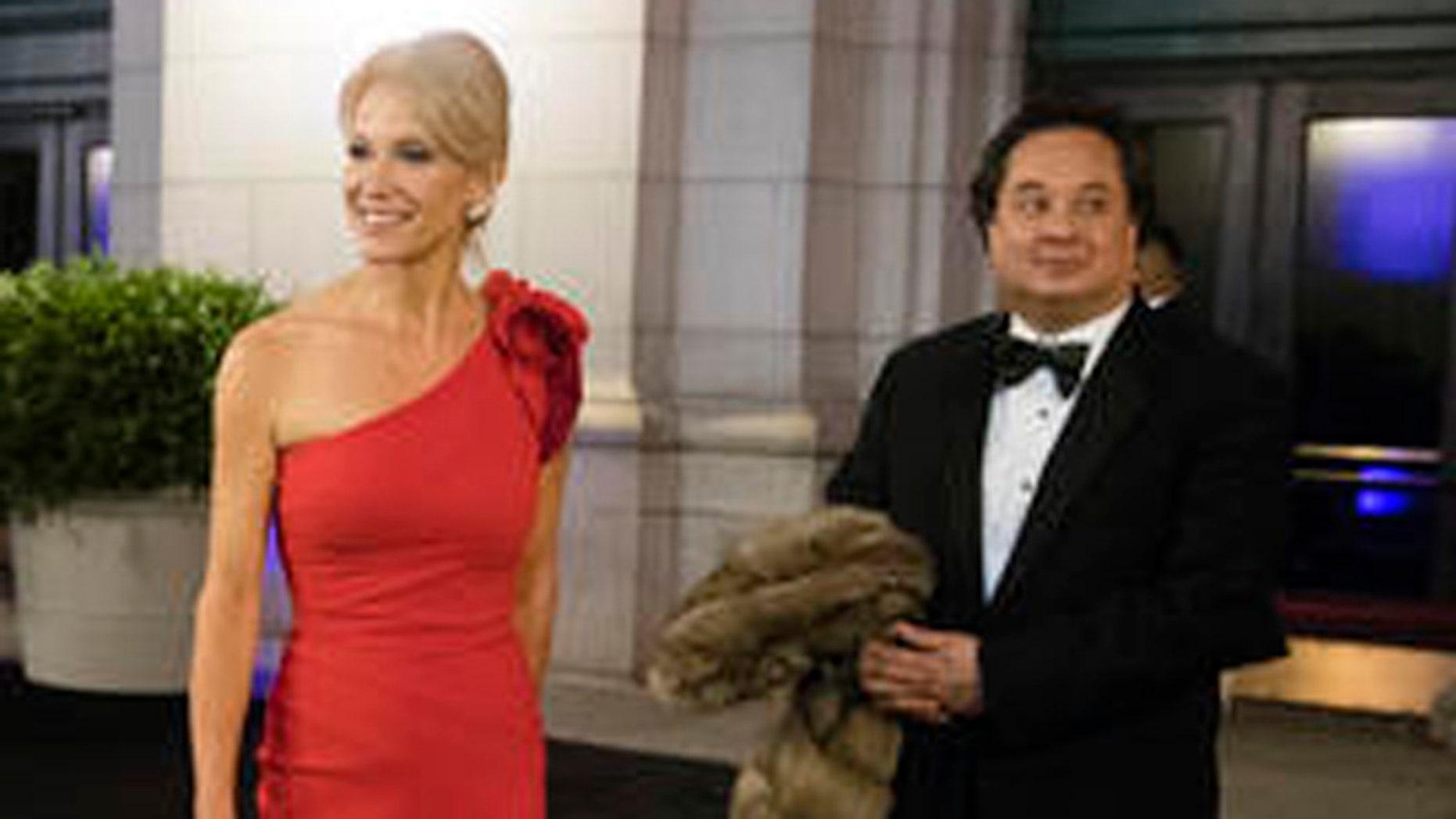 FILE: Jan. 19, 2017: President Trump adviser Kellyanne Conway and husband George Conway, Union Station, Washington, D.C. (Associated Press)