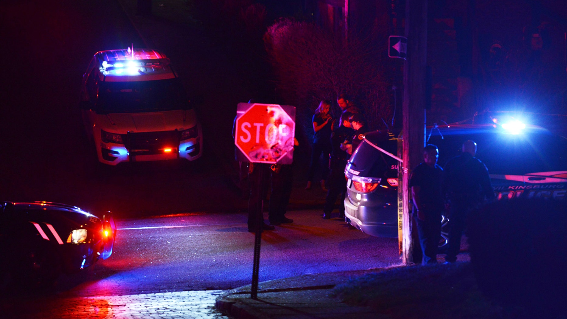 March 9, 2016:  Police investigate the scene after a deadly shooting in Wilkinsburg, Pa. Pittsburgh television station WTAE said Wednesday it had fired anchorwoman Wendy Bell over racial comments she posted on Facebook about the ambush shooting that left five people and an unborn baby dead
