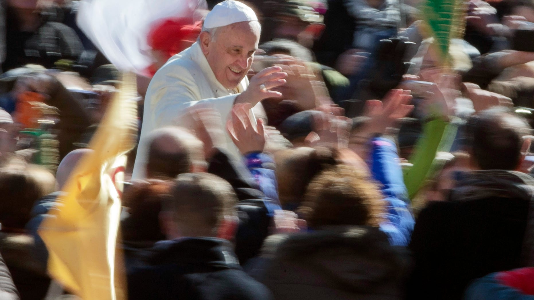 Pope Francis in St. Peter's Square at the Vatican, Wednesday, March 5, 2014.