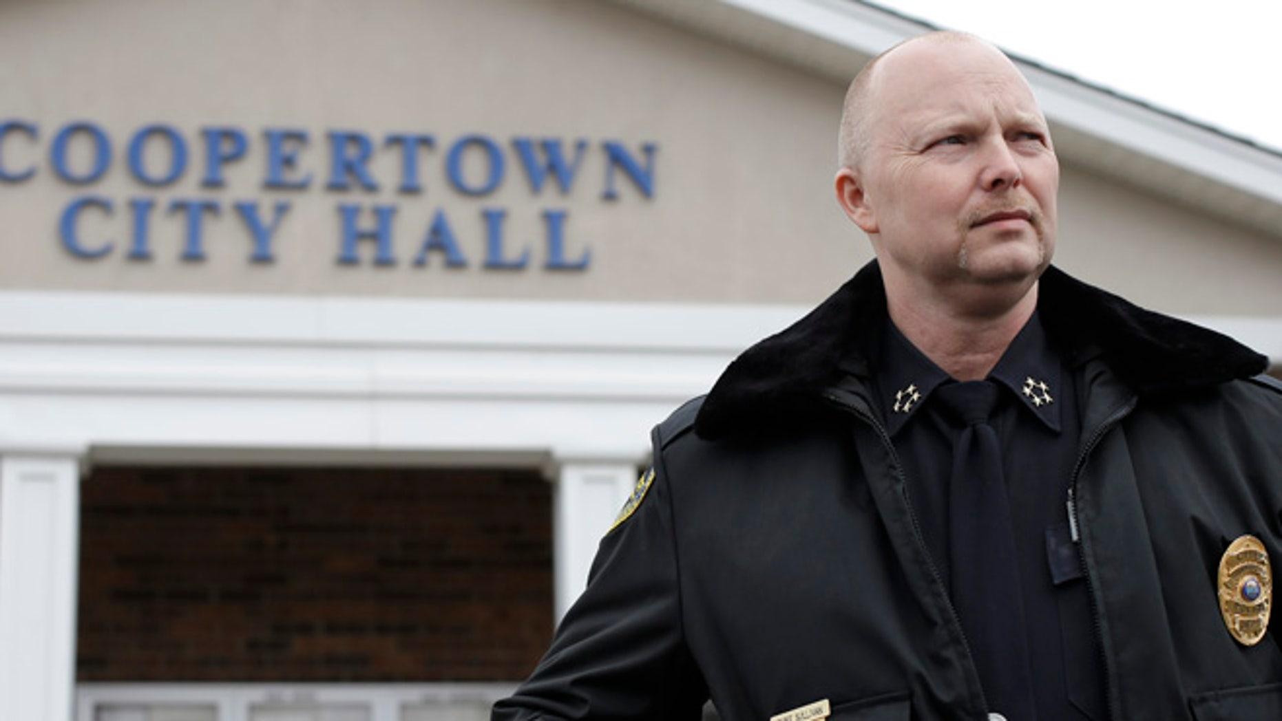 Feb. 13, 2013: Coopertown, Tenn., Police Chief Shane Sullivan at the Coopertown City Hall. The department was disbanded for several months last year after an officer was recorded using a racial slur to describe a black motorist. Sullivan, hired in Nov. 2012, is counting on using a lie-detector test to keep racists off his tiny police force. (AP)