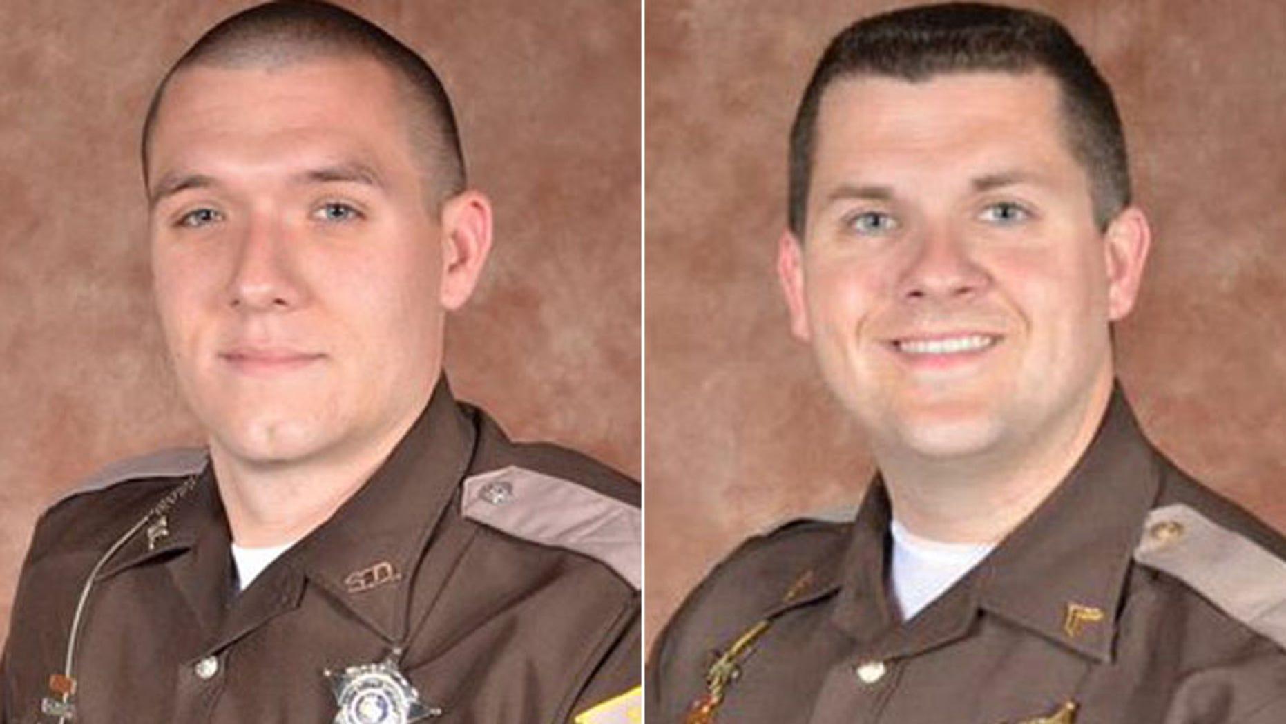 Deputy Carl Koontz, left, and Sergeant Jordan Buckley were shot while serving a warrant on Sunday.