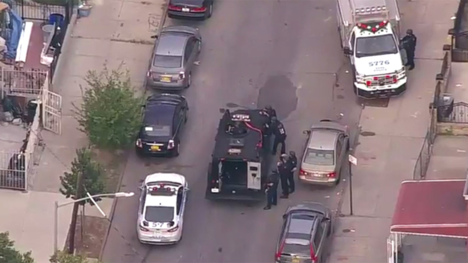The scene of the shooting in Brooklyn, NY.