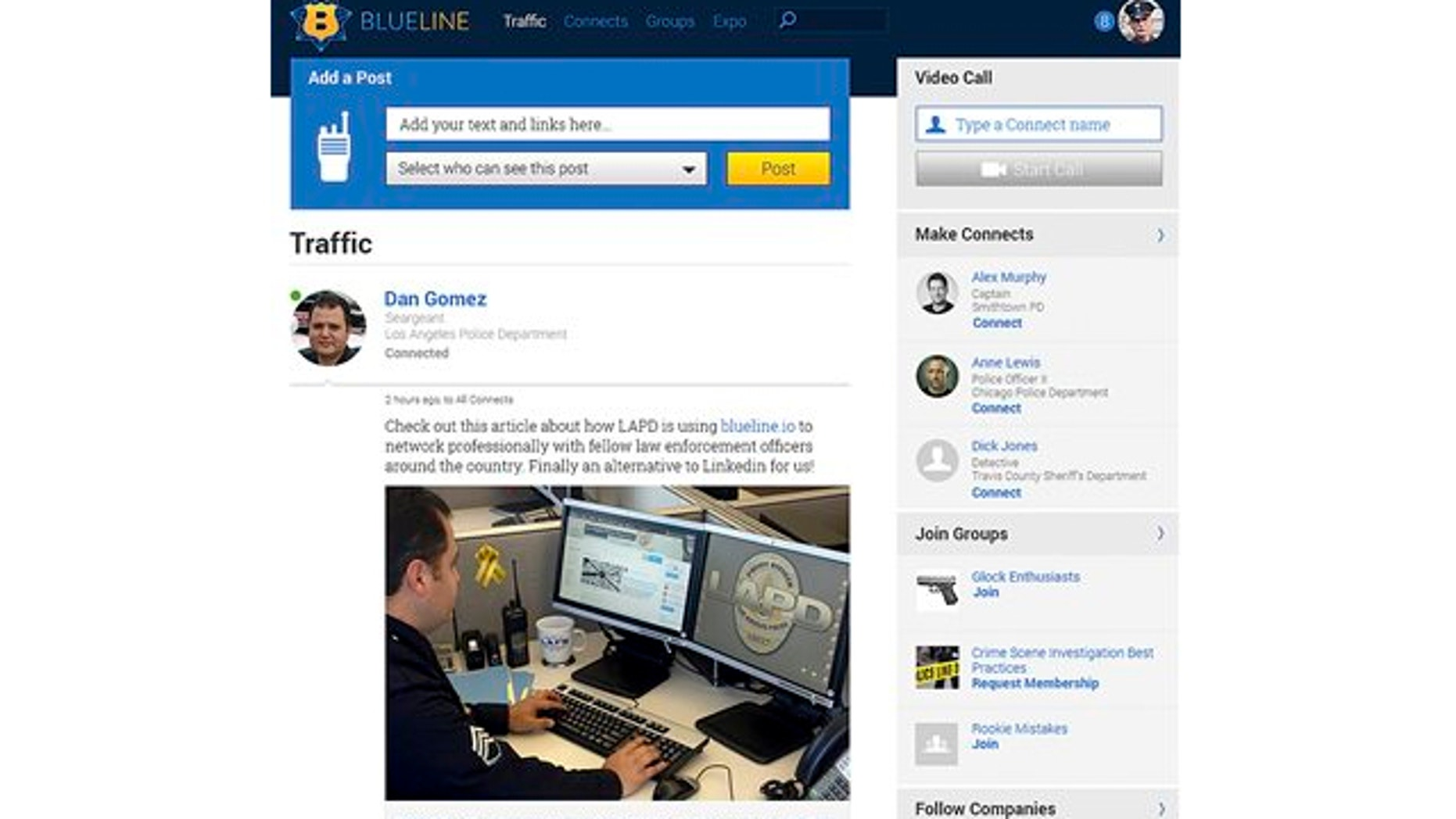 """In this screen grab provided by BlueLine shows the webpage for BlueLine, a social media network exclusively for the men and women in blue, a la Facebook, with """"likes"""" and sharing."""