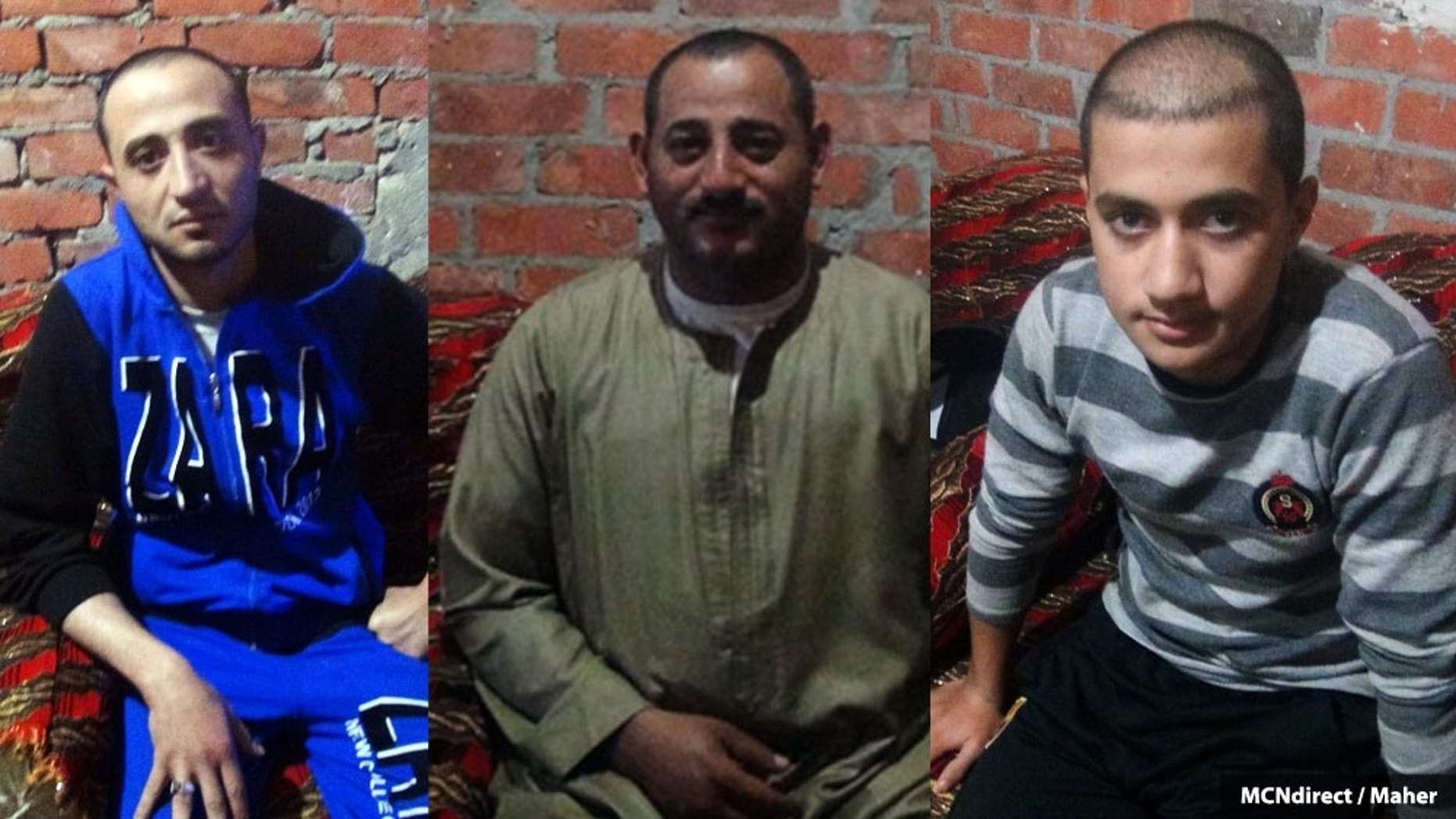 Amgad Makar Zaki, Atef Nadi Habib and Sherif Tawwad Hakim,  told MidEast Christian News they were tortured in Libya. (Courtesy: MCN)