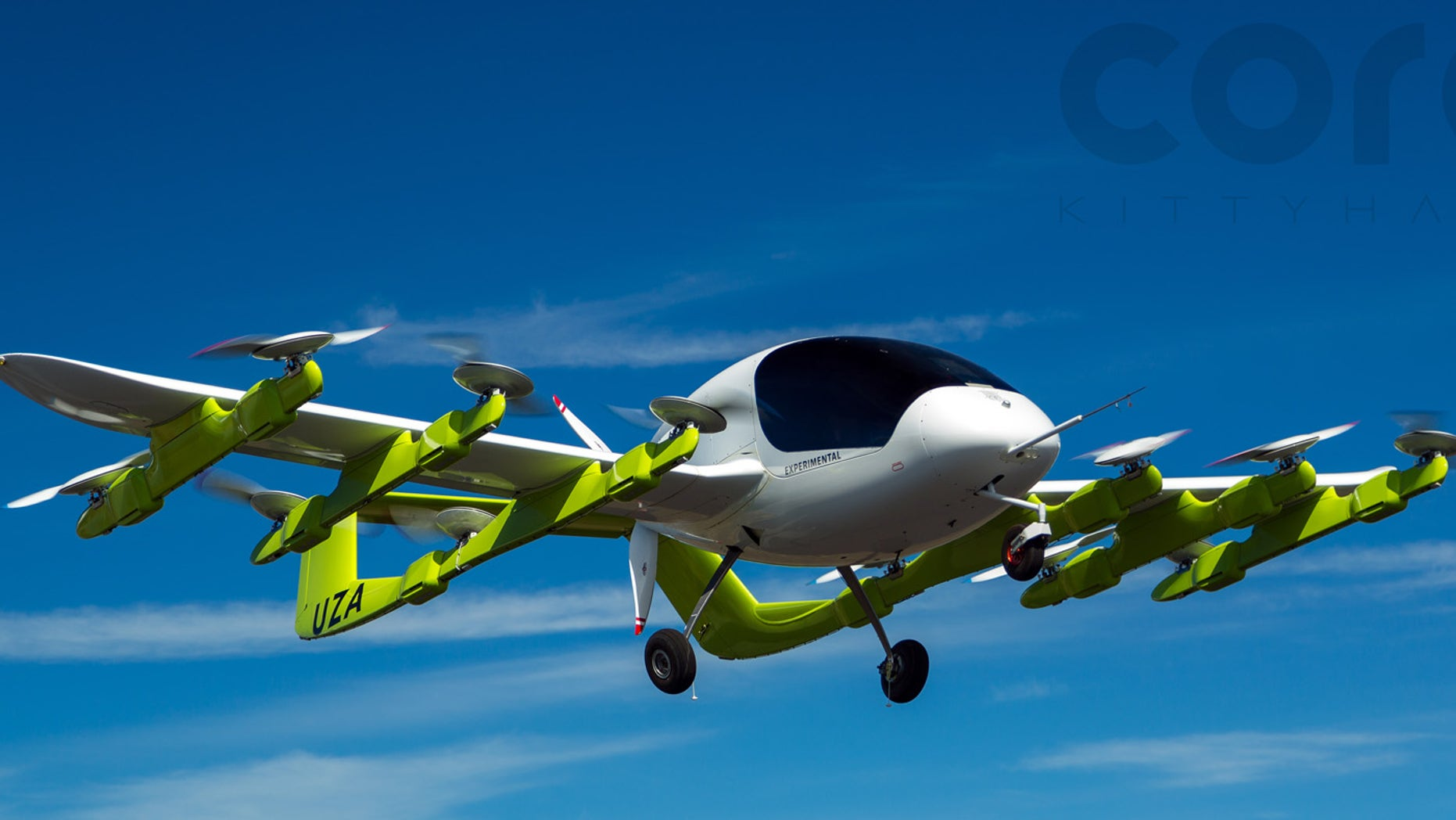 Kitty Hawk's flying taxi, known as Cora, can be seen in the image above.