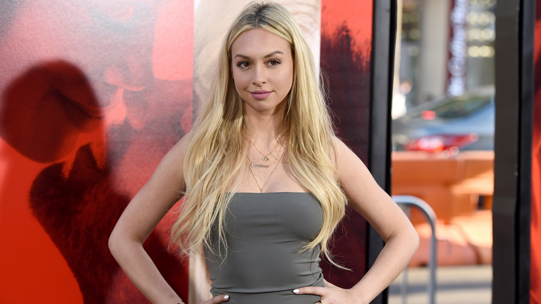 """FILE - In this Tuesday, April 18, 2017, file photo, Corinne Olympios arrives at the Los Angeles premiere of """"Unforgettable"""" at the TCL Chinese Theatre. Olympios, a contestant on ABC's """"Bachelor in Paradise,"""" said she was a """"victim"""" who was seeking therapy for what she called the physical and emotional trauma she experienced during the taping of one of the show's episodes on June 4. Warner Bros., the show's producer, said Tuesday, June 20, that it had reviewed videotape from the show and found that no cast member misbehaved or was in jeopardy on the set. (Photo by Jordan Strauss/Invision/AP, File)"""