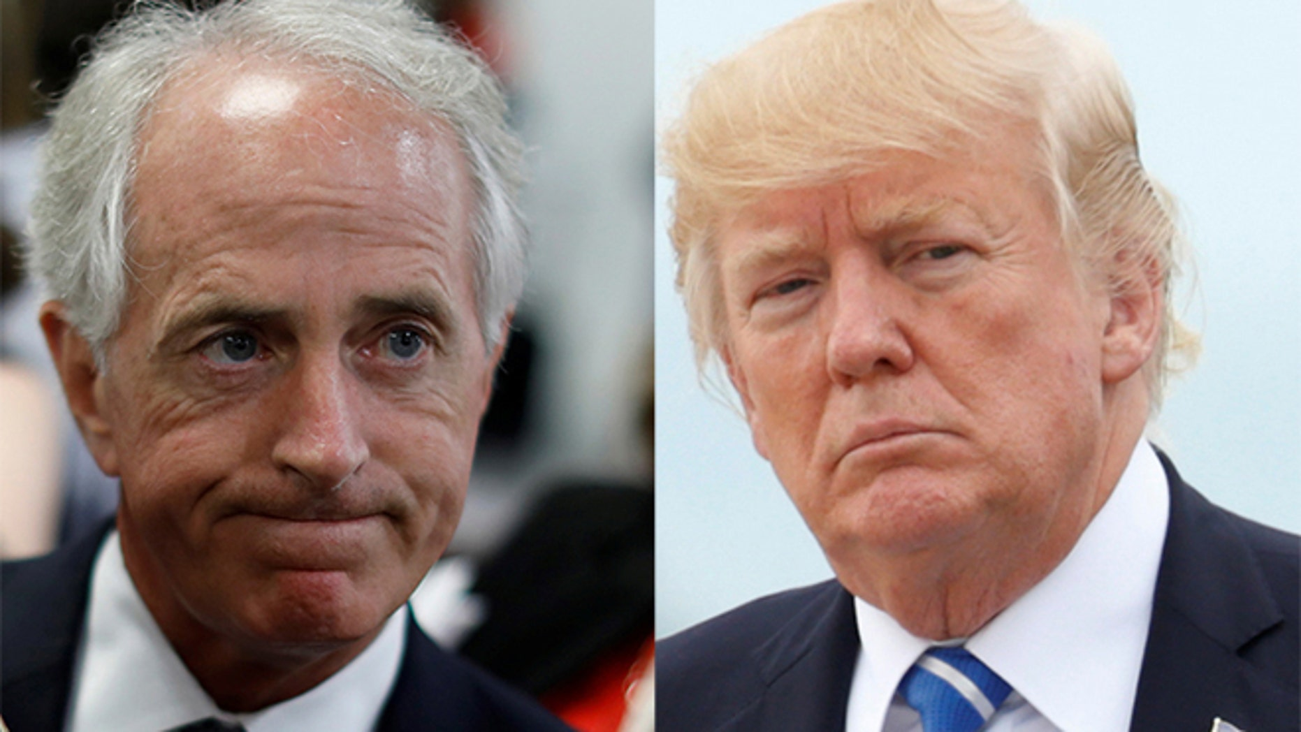 The gloves are off between President Trump and Sen. Bob Corker, left, now that the Tennessee Republican has announced his retirement.