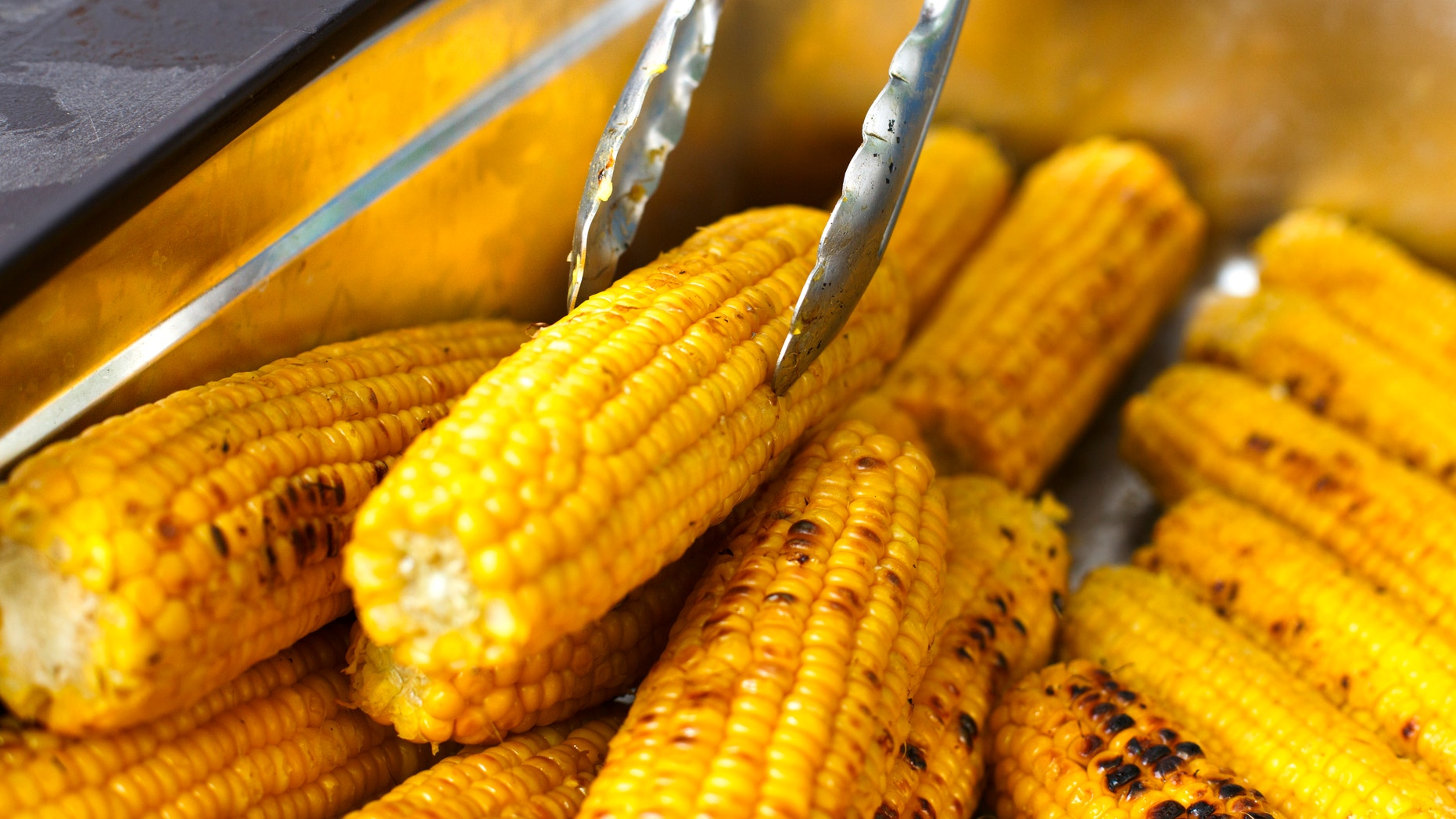 Vegan bbq party. Barbecue corns outdoors. Cookout bbq vegetable food. Fresh organic, healthy vegetarian grilled snack, corncobs cooked on grill. Street food, fast food. Tasty natural food.