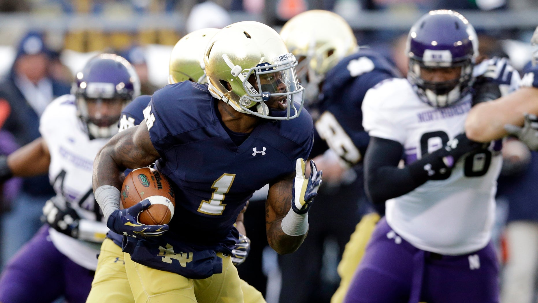 Running back Greg Bryant, pictured here with Notre Dame, was declared brain dead on Sunday.
