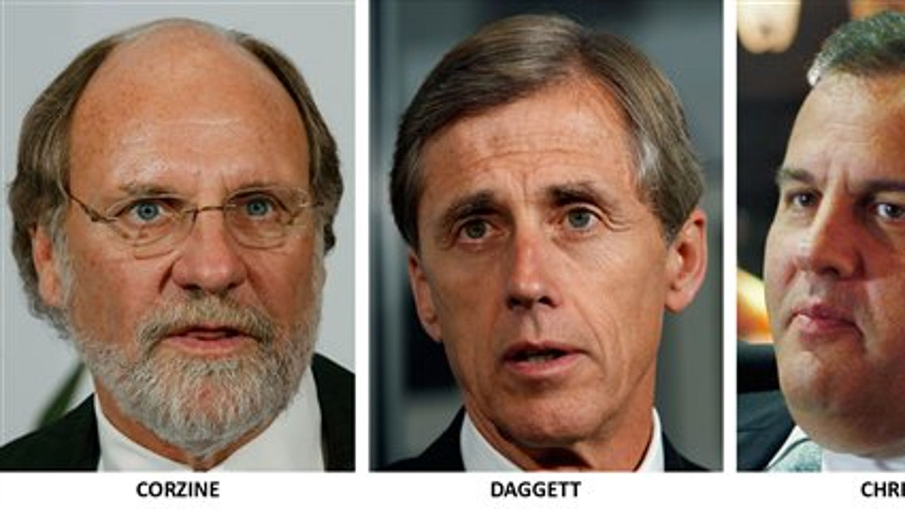 The three candidates for governor of New Jersey, from left, Democrat Jon. S. Corzine, Independent Chris Daggett and Republican Chris Christie. (AP Photo)