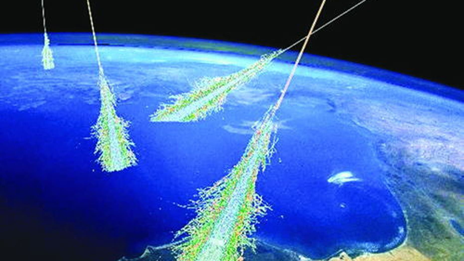 An artist's concept of the shower of particles produced when Earth's atmosphere is struck by ultra-high-energy cosmic rays.
