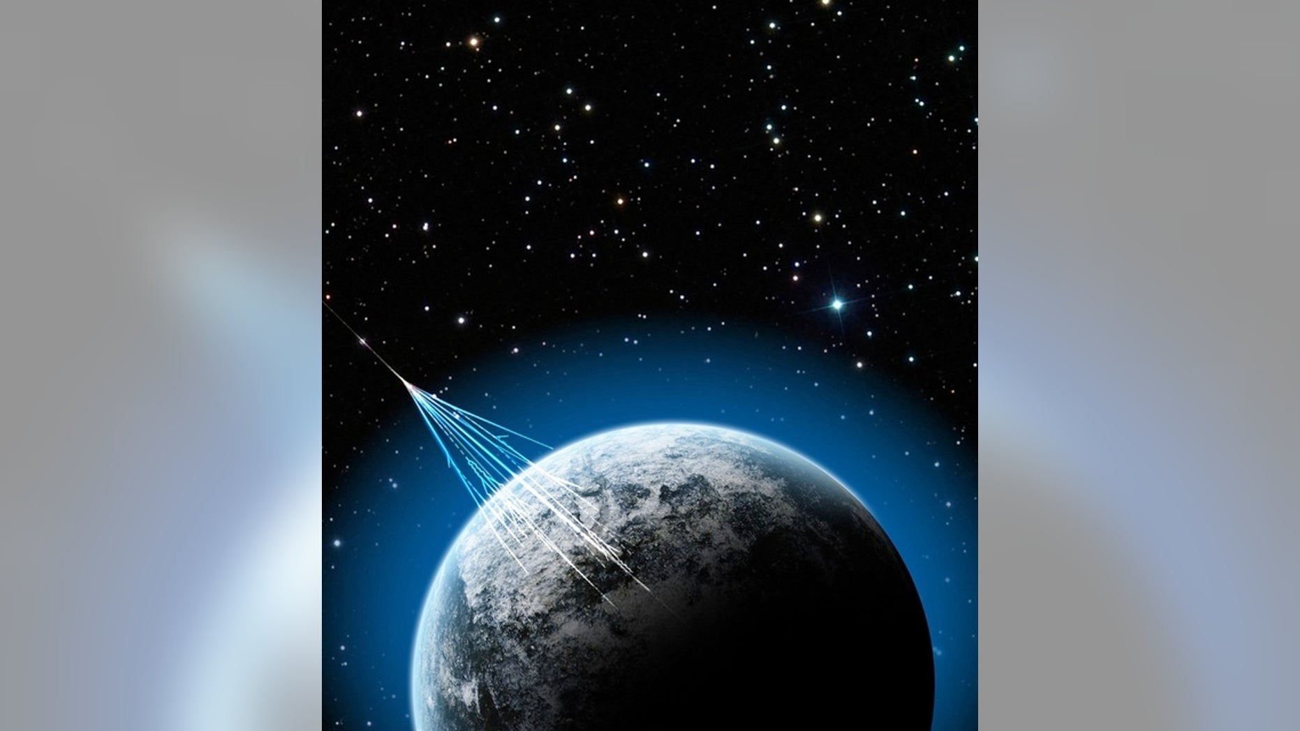 An illustration of high-energy cosmic rays penetrating the Earth's atmosphere.