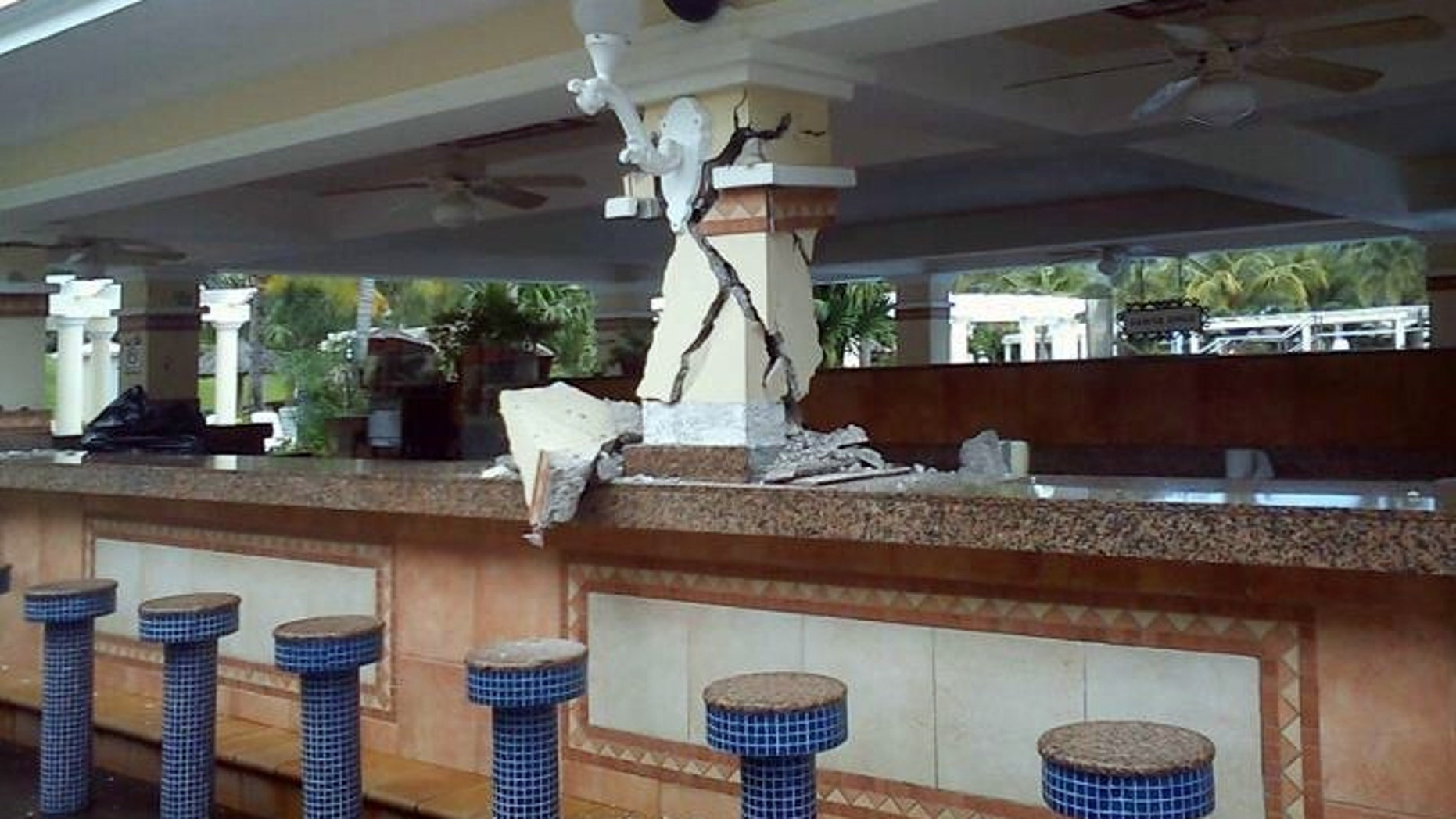 Sept. 5, 2012: This photo posted to the Instagram account danielacordero, belonging to a person identified as Daniela Cordero, a bar is damaged inside the Hotel Riu after an earthquake in Guanacaste, Costa Rica, .  A powerful, magnitude-7.6 earthquake shook Costa Rica and a wide swath of Central America on Wednesday.
