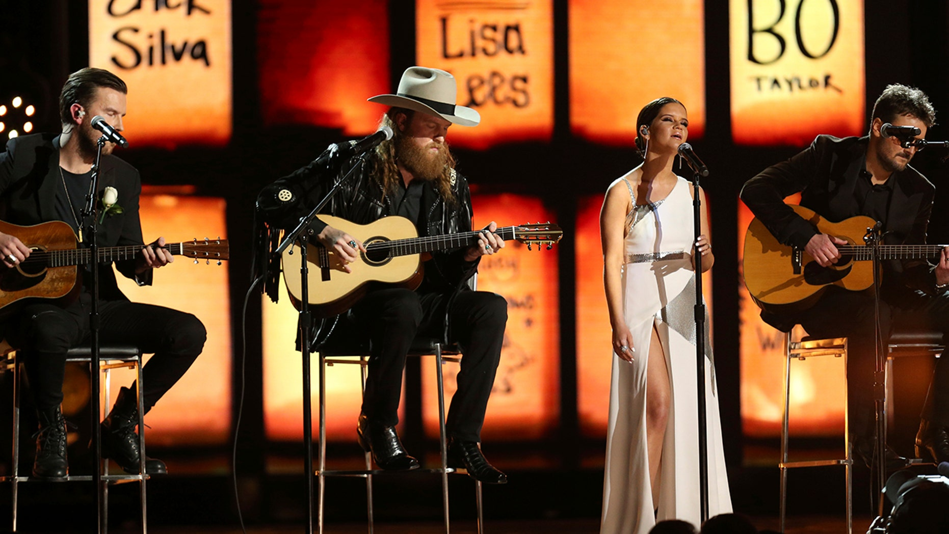 The Brothers Osborne, from left, Maren Morris and Eric Church perform at the 60th annual Grammy Awards at Madison Square Garden on Sunday, Jan. 28, 2018, in New York.