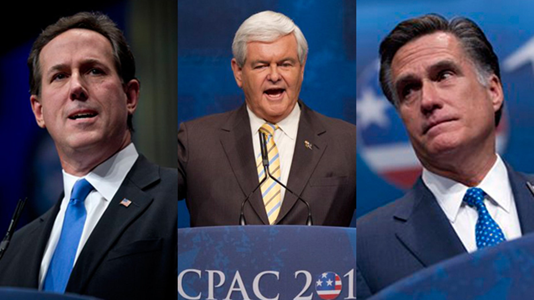 Feb. 10, 2012: Rick Santorum, Newt Gingrich and Mitt Romney speak at the Conservative Political Action Conference in Washington, D.C.