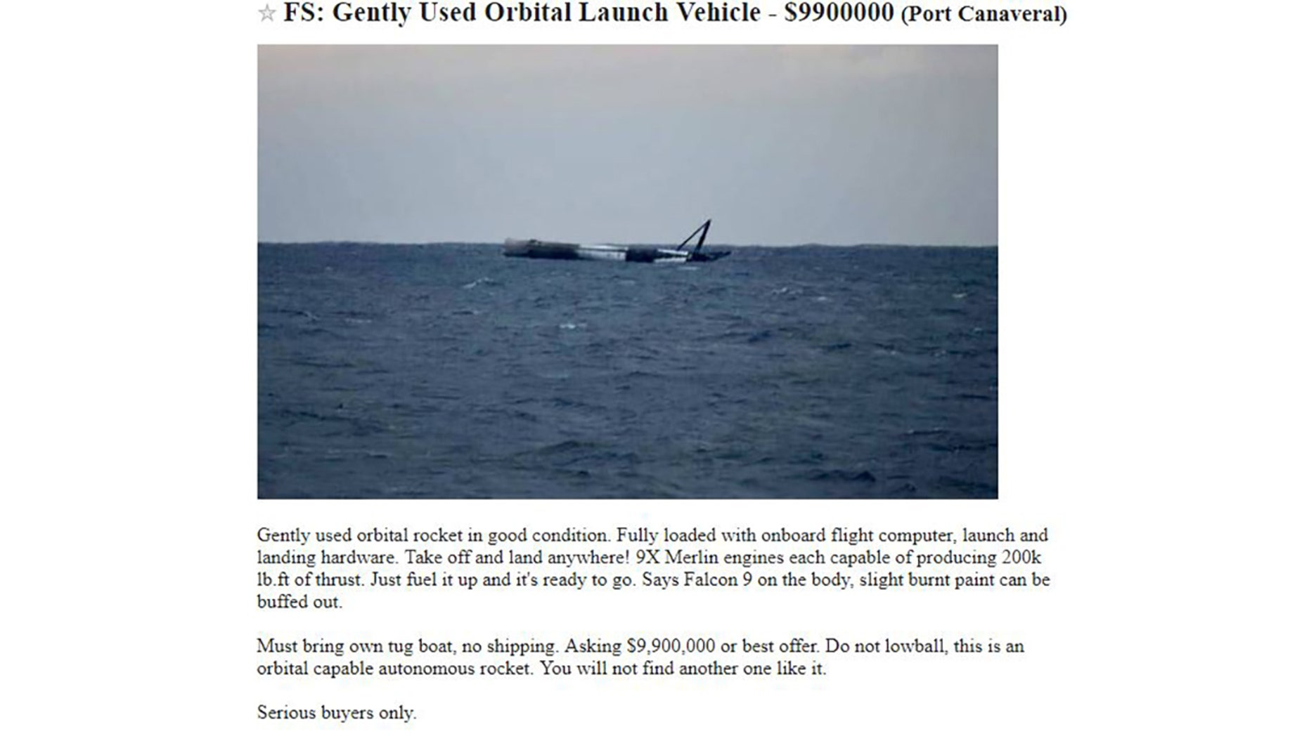 Ad on Craigslist for the SpaceX rocket.