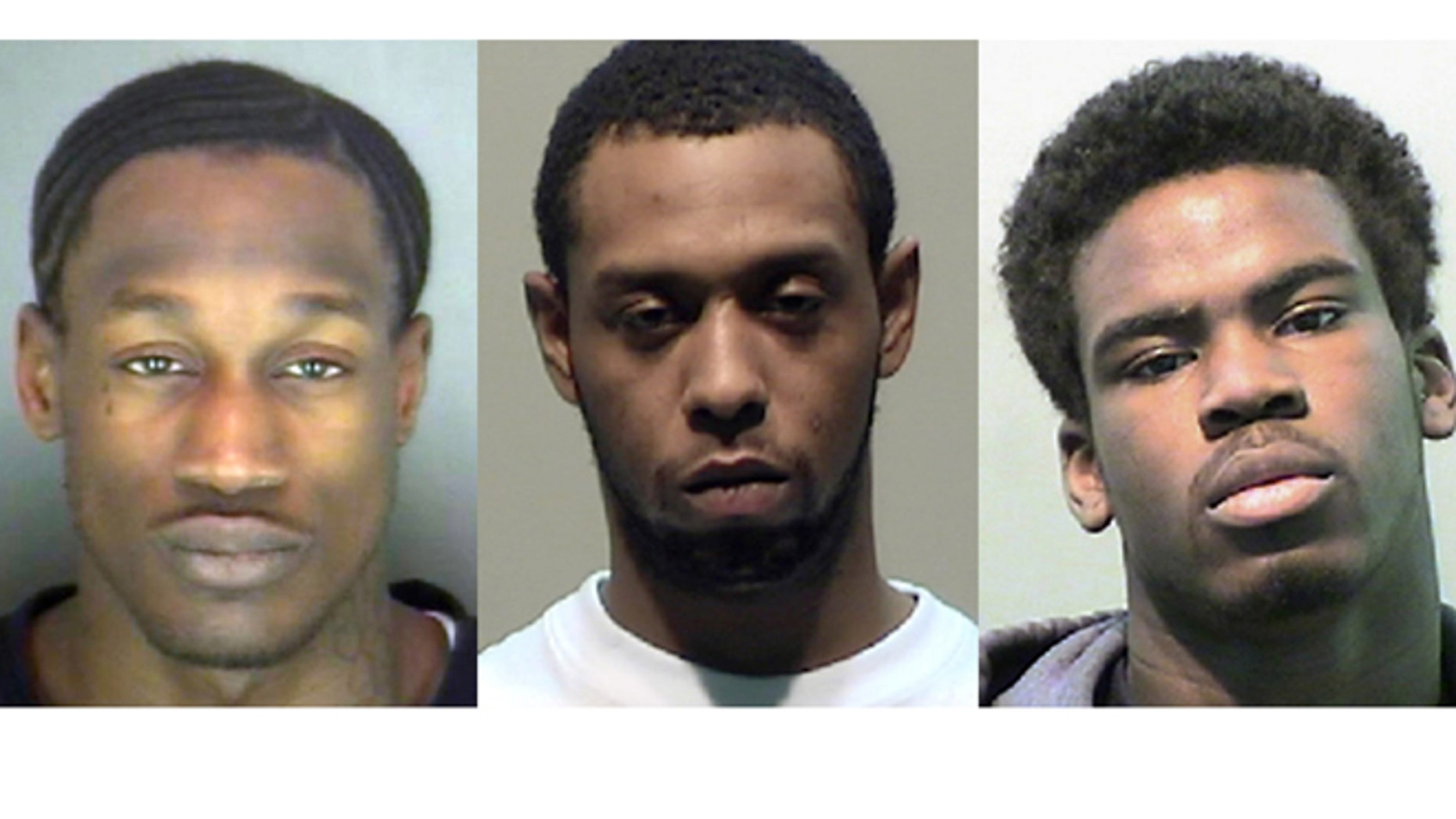 These undated photos provided by the Detroit Police Department on Tuesday, April 8, 2014 shows, from left, Wonzey Saffold, James Davis and Bruce Wimbush Jr.