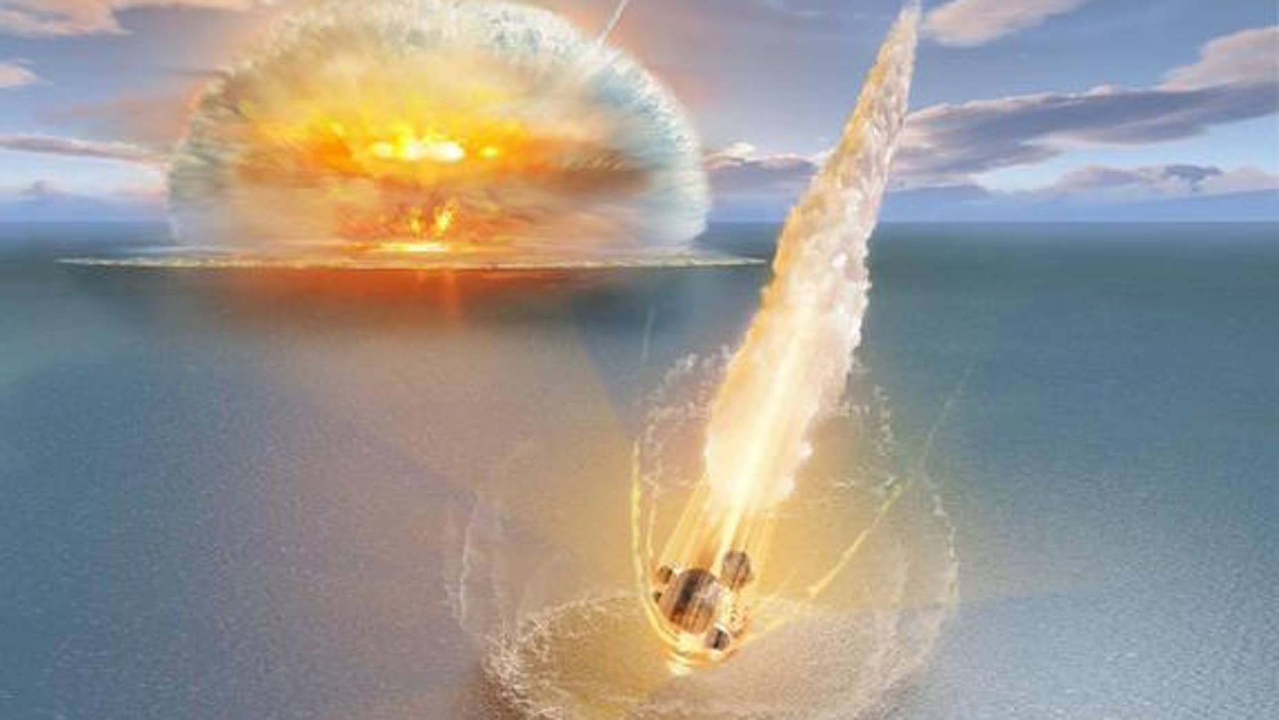 An artist's depiction of the dual meteor strike.