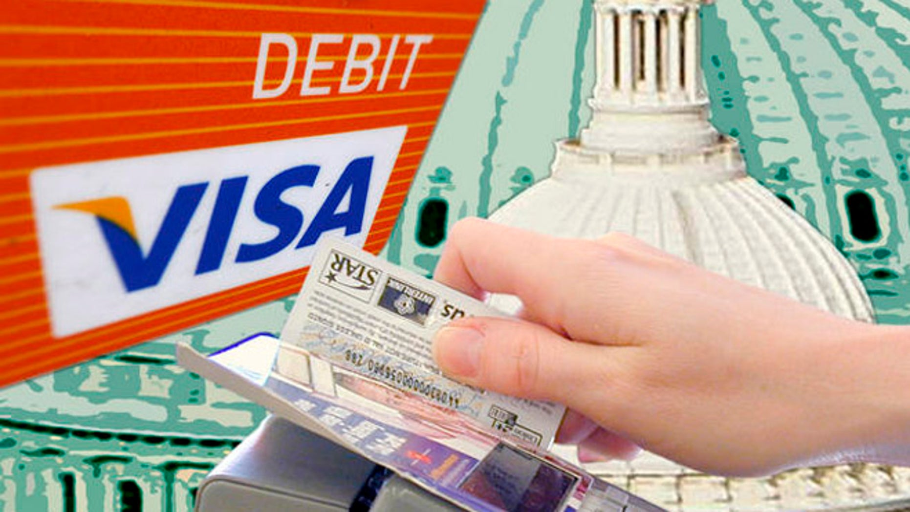 This photo taken Monday, Aug. 16, 2010, shows the Visa logo on the front of a Debit Card in Philadelphia. (AP Photo/Matt Rourke)