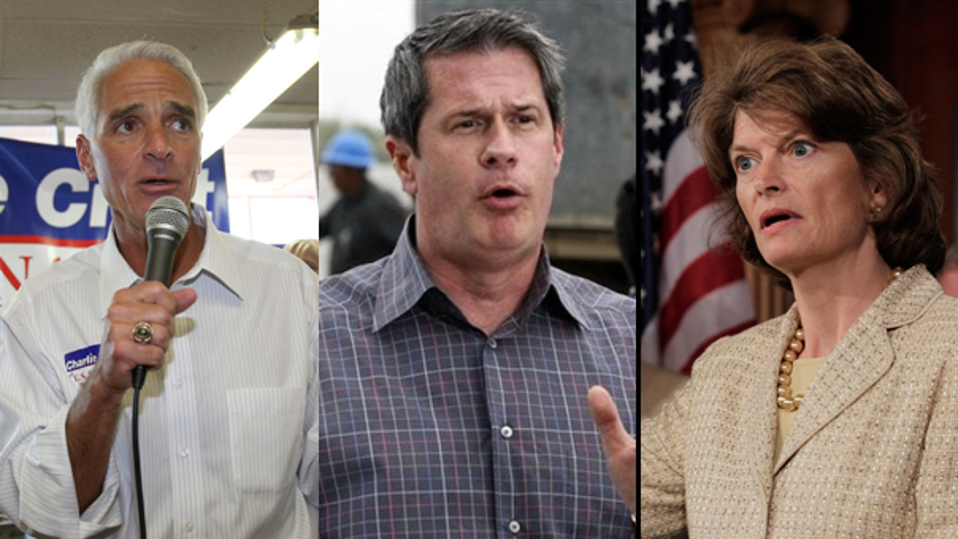 Florida Gov. Charlie Crist (l), Sen. David Vitter (c), and Sen. Lisa Murkowski, (r), are among the politicians being targeted for their position on offshore drilling. (AP)