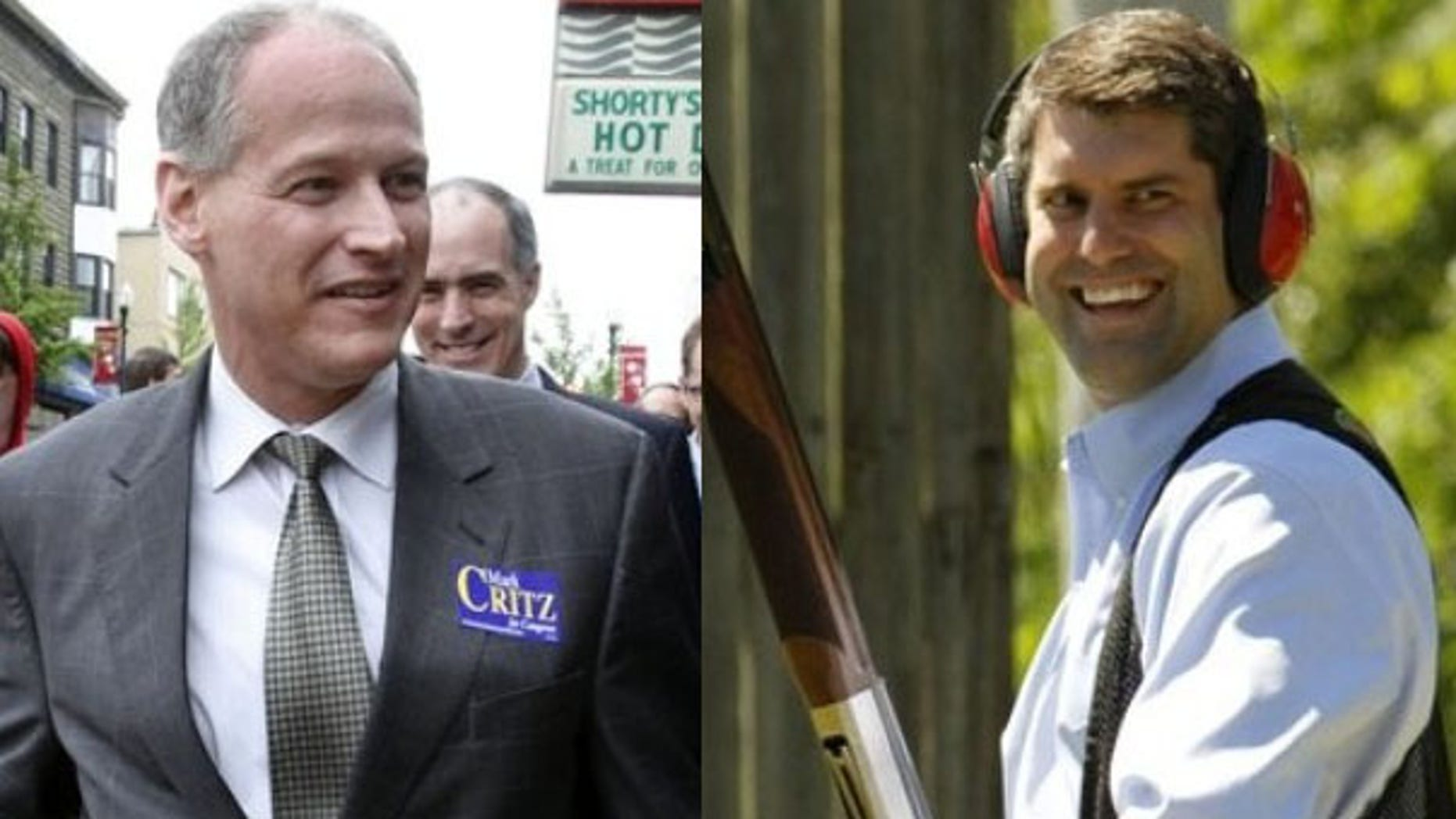 Democrat Mark Critz, left, and Republican Tim Burns are vying for the Pennsylvania congressional seat left vacant by the death of Rep. John Murtha (AP). The primary is Tuesday.
