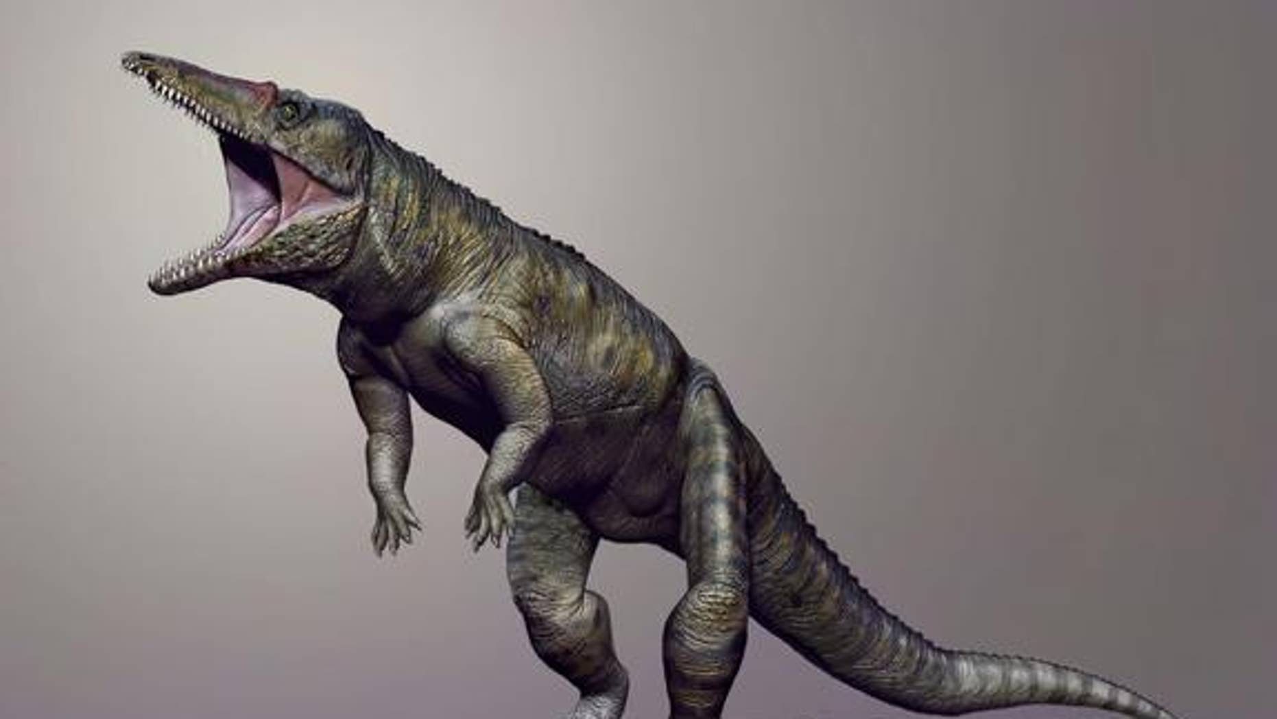 A life reconstruction of the giant crocodile ancestor (<em>Carnufex carolinensis</em>) that lived some 231 million years ago in what is now North Carolina.