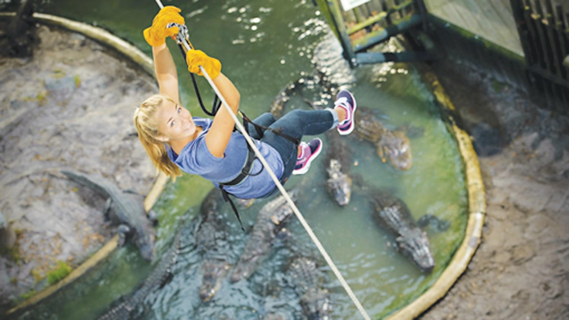 Soar over gators and crocs on Crocodile Crossing.