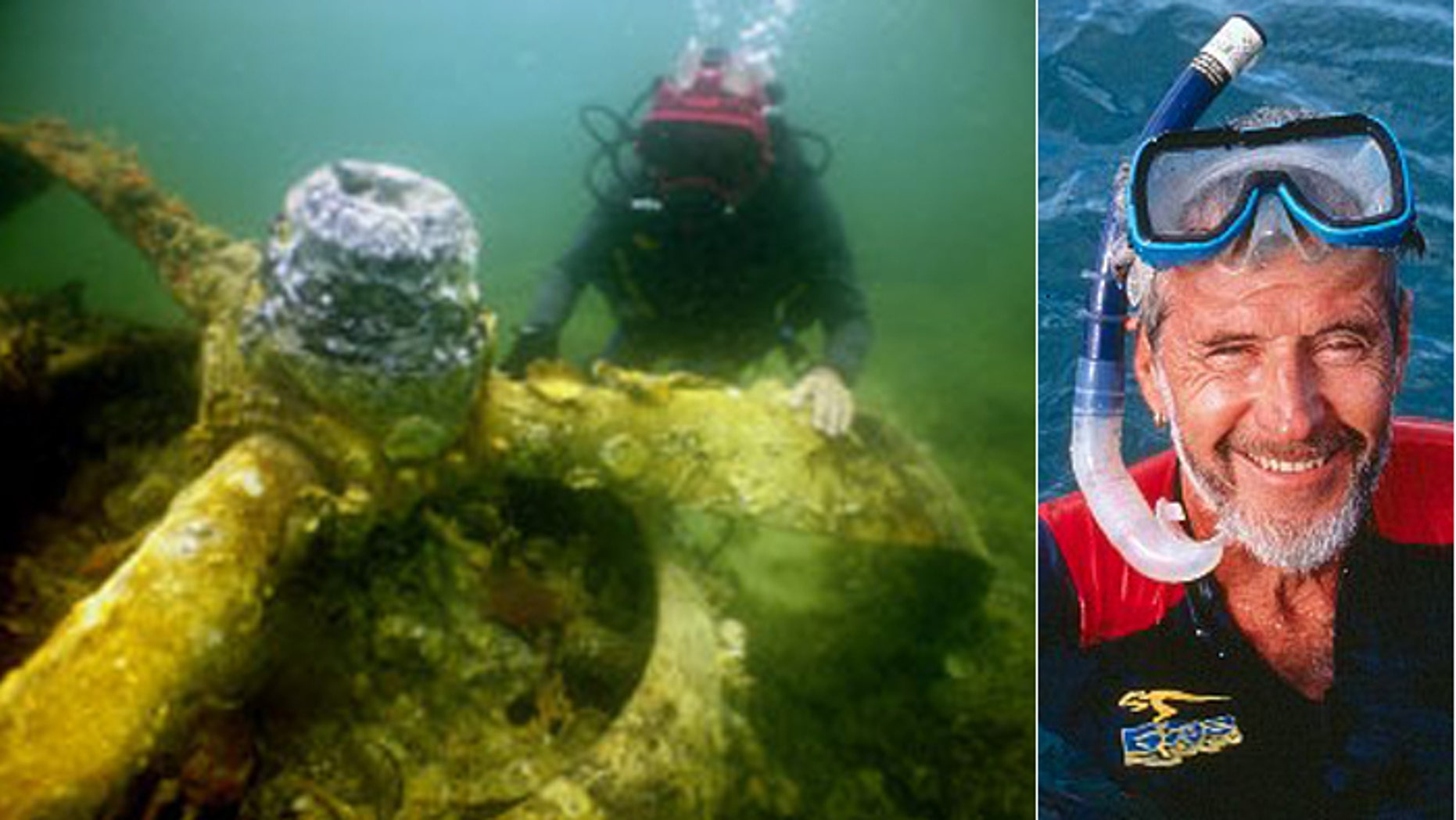 Ben Cropp, whown here diving an airplane wreck, believes he is close to finding proof that Portuguese sailors found Australia long before the Dutch, who are credited with discovering it. (Ben Cropp)