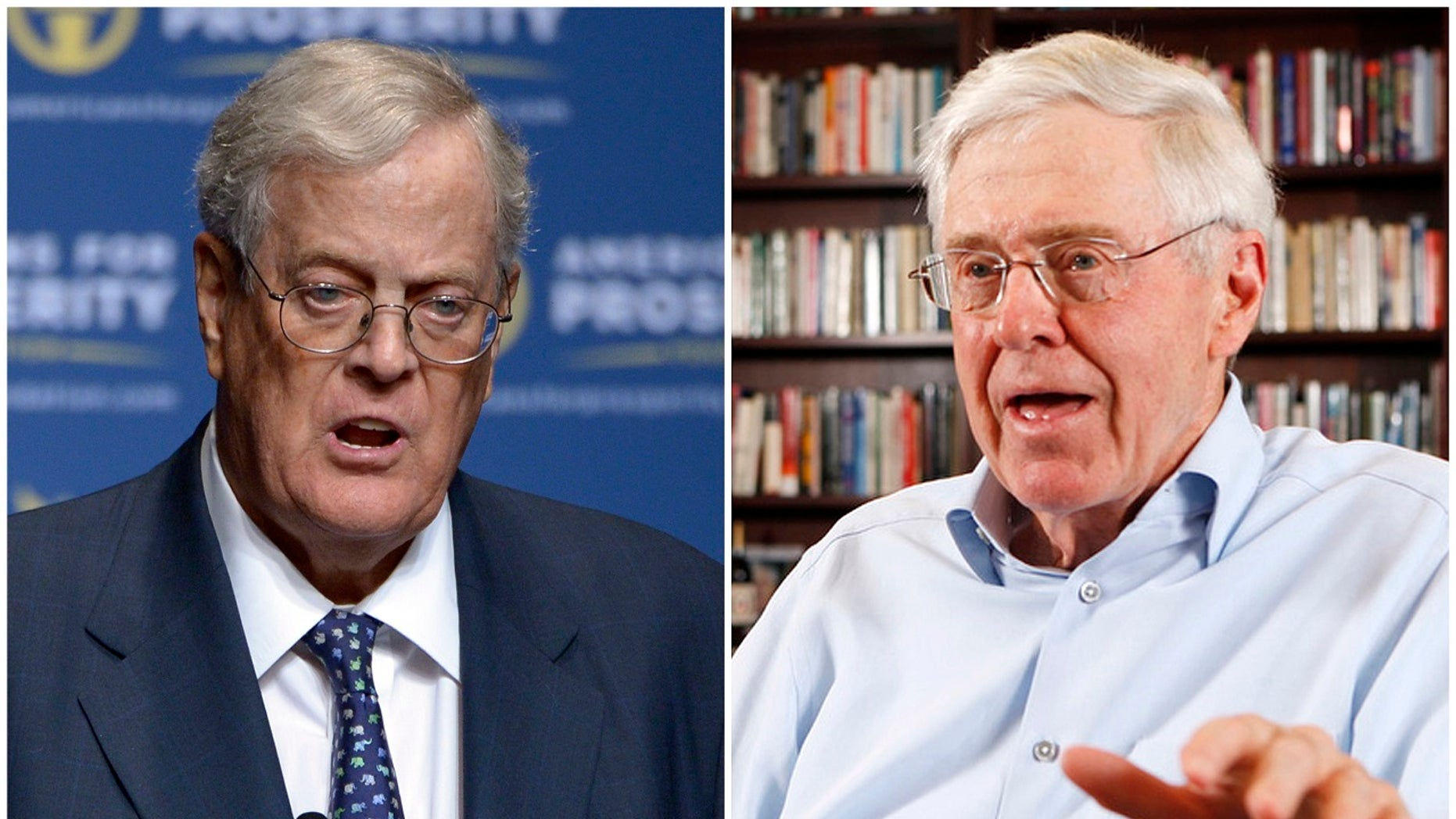 """Brothers David, left, and Charles Koch have quietly launched a rebranding effort that may vanquish the """"Koch brothers"""" moniker from American politics."""