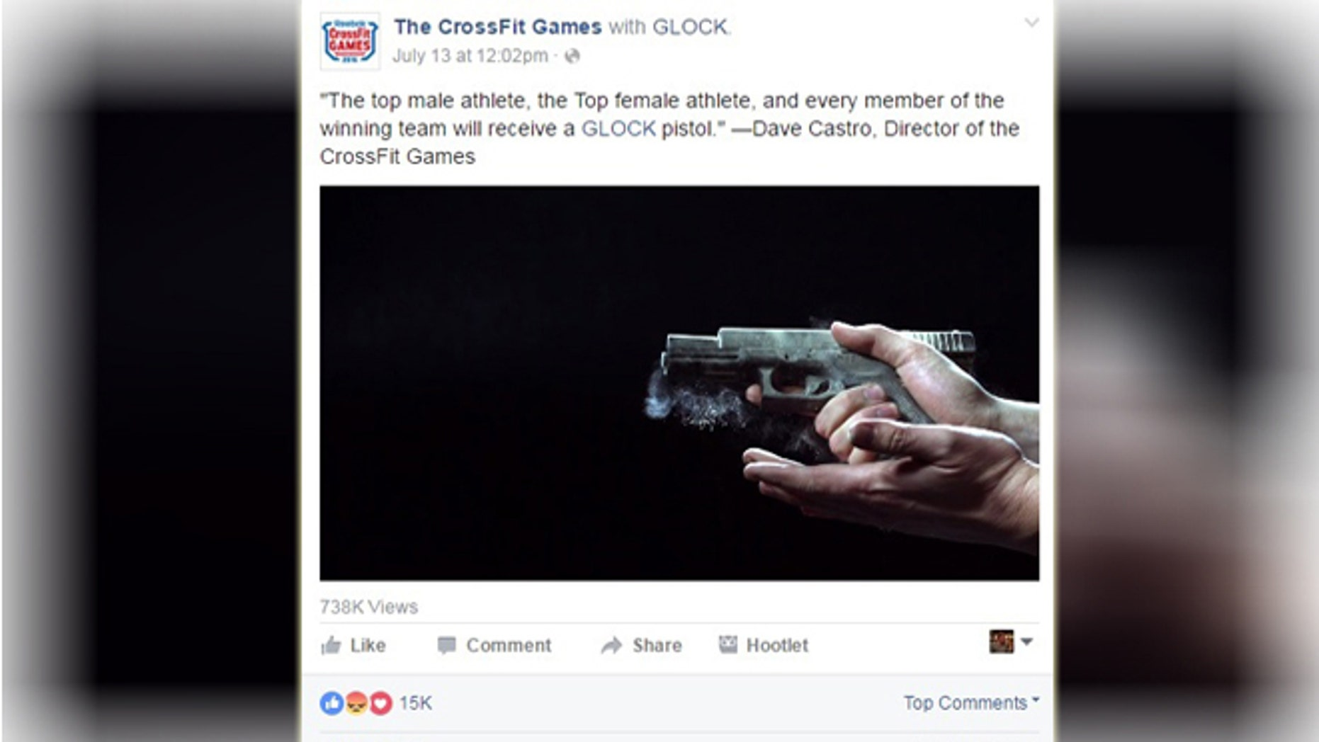 "The founder of the hugely popular CrossFit Games recently announced that he would be giving away the pistols to athletes that win the competition referring to it as ""Glock for the podium."""