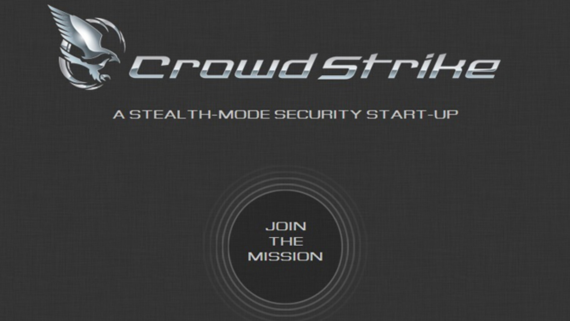 A screenshot of the website for CrowdStrike, a new Internet security startup that uses hackers own tactics against them.