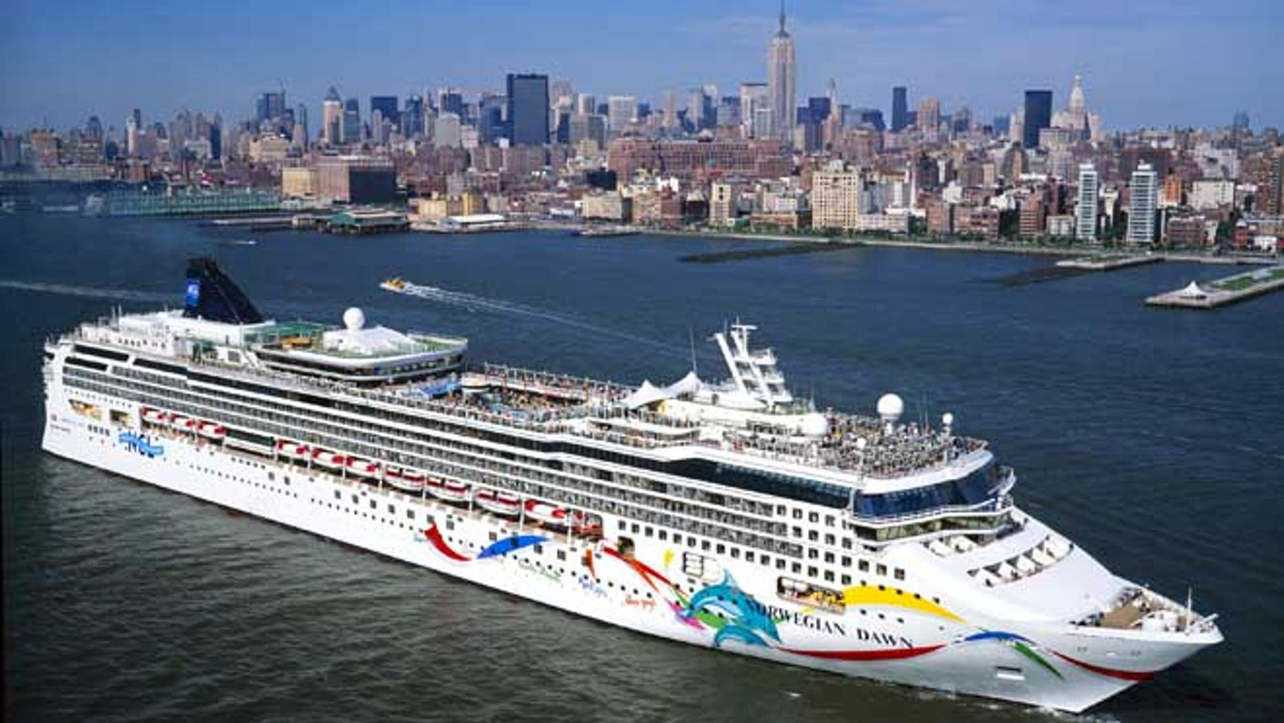 NEW YORK:  In this undated image provided by the Norwegian Cruise Line, luxury liner, The Norwegian Dawn, is shown on the Hudson River near New York City. The Republican National Convention may be held on the ship when docked at a New York City port instead of in New York City when the convention comes to town from August 30 through to September 2, 2004. The decision on where to hold the convention will be made by House Majority Leader Tom DeLay. The Norwegian Dawn is a 2,240 passenger capacity luxury cruise liner with approximately 15 decks as well as 14 bars.  (Photo by Norwegian Cruise Line via Getty Images)