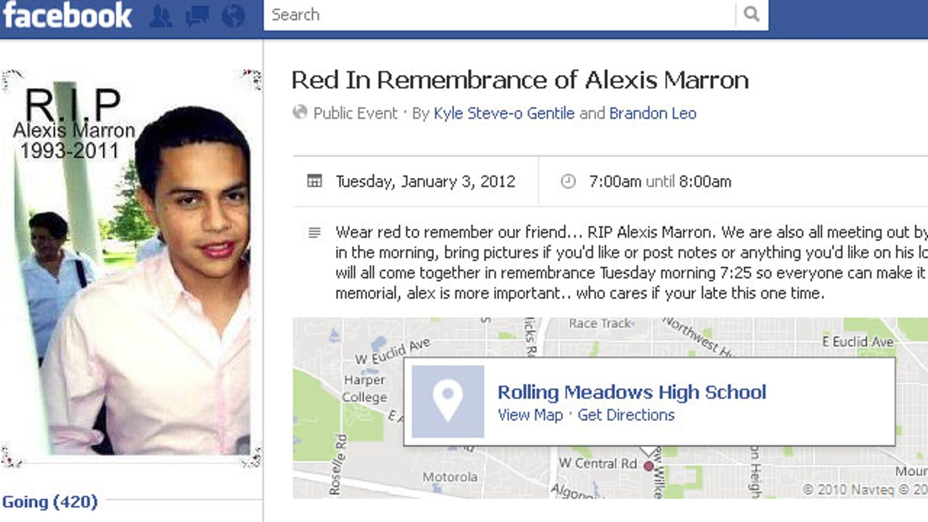 "Friends of Alexis Marron, 18, have created a ""Red in Remembrance"" Facebook page in his honor."