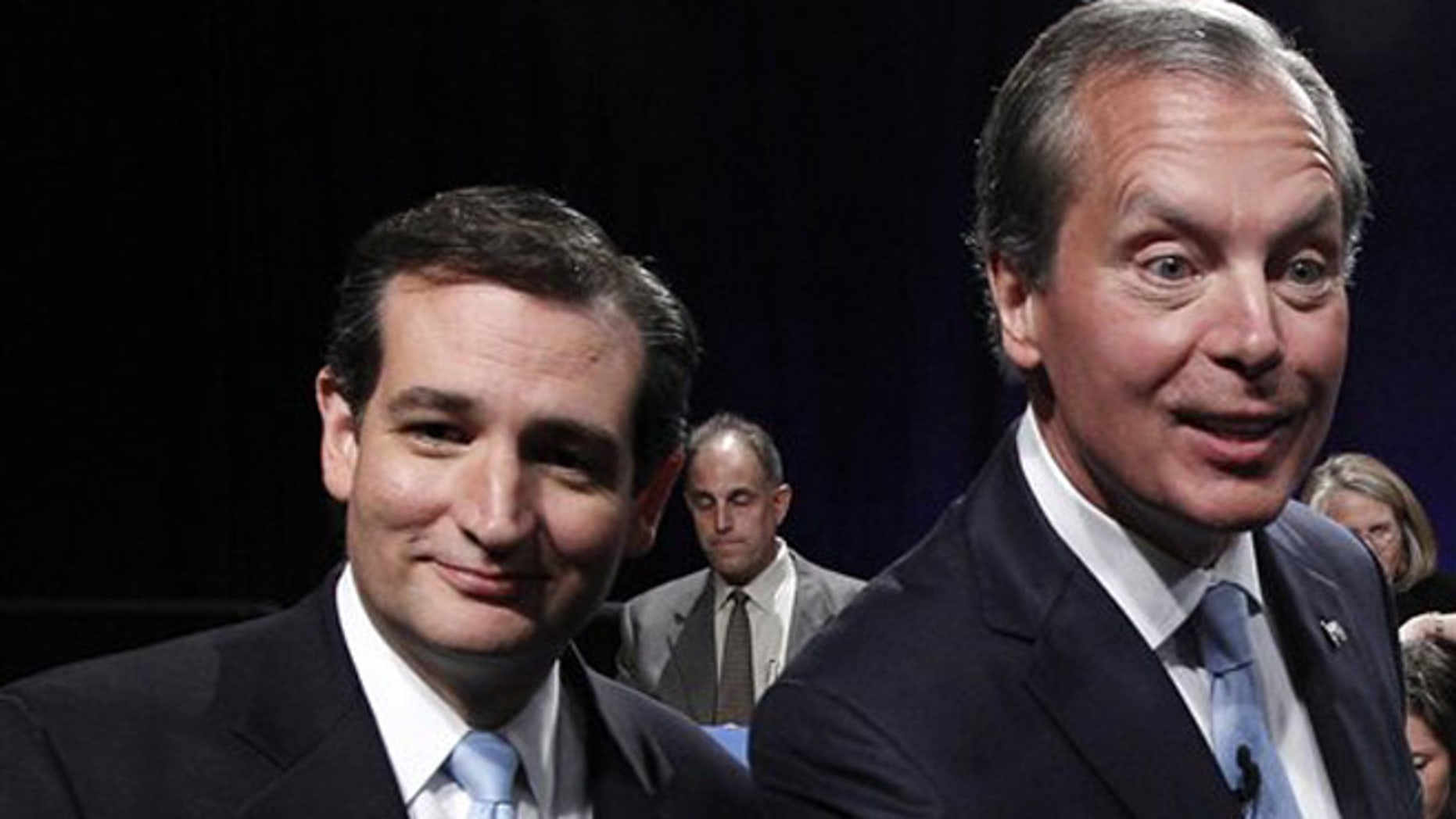 June 22, 2012: Texas Senate candidates Ted Cruz, left, and Texas Lt. Gov. David Dewhurst , right, are seen after their televised debate in Dallas, Texas.
