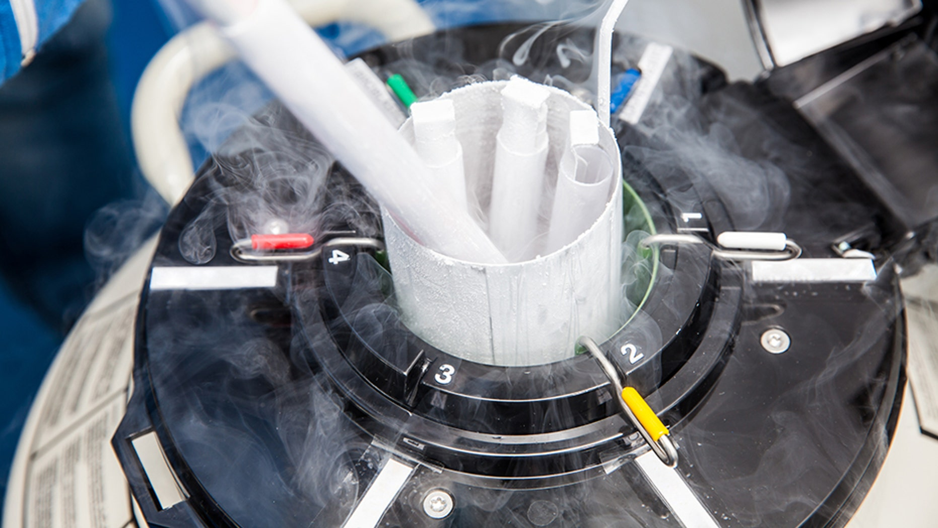 A liquid nitrogen tank at the clinic located outside Cleveland, where more than 2,000 frozen embryos and eggs are stored, unexpectedly heated up.