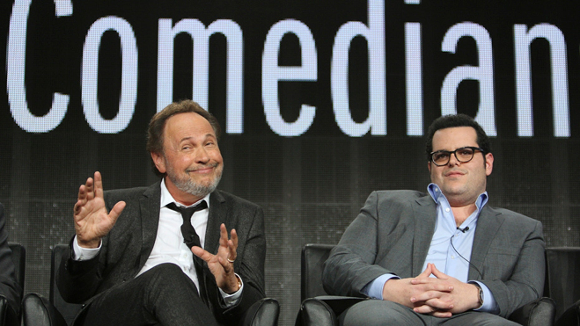 """Comedians Billy Crystal (L) and Josh Gad participate in """"The Comedians"""" panel at the Television Critics Association (TCA) Winter Press Tour in Pasadena, California January 18, 2015.   REUTERS/David McNew  (UNITED STATES - Tags: ENTERTAINMENT) - RTR4LX4X"""