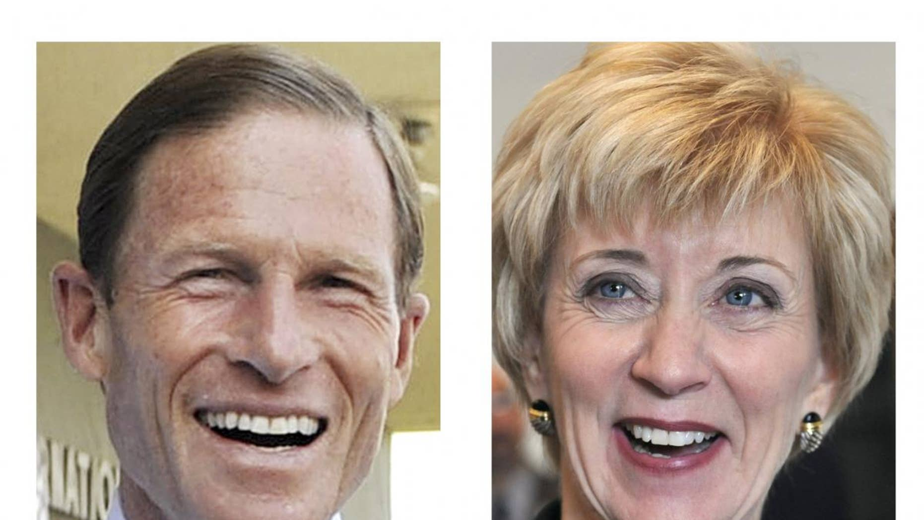 This combination of 2010 photos shows Democrat Richard Blumenthal, left, and Republican Linda McMahon, right, candidates in the Nov. 2, general election in Connecticut for the U.S. Senate seat being vacated by Christopher Dodd. (AP Photo/Jessica Hill)