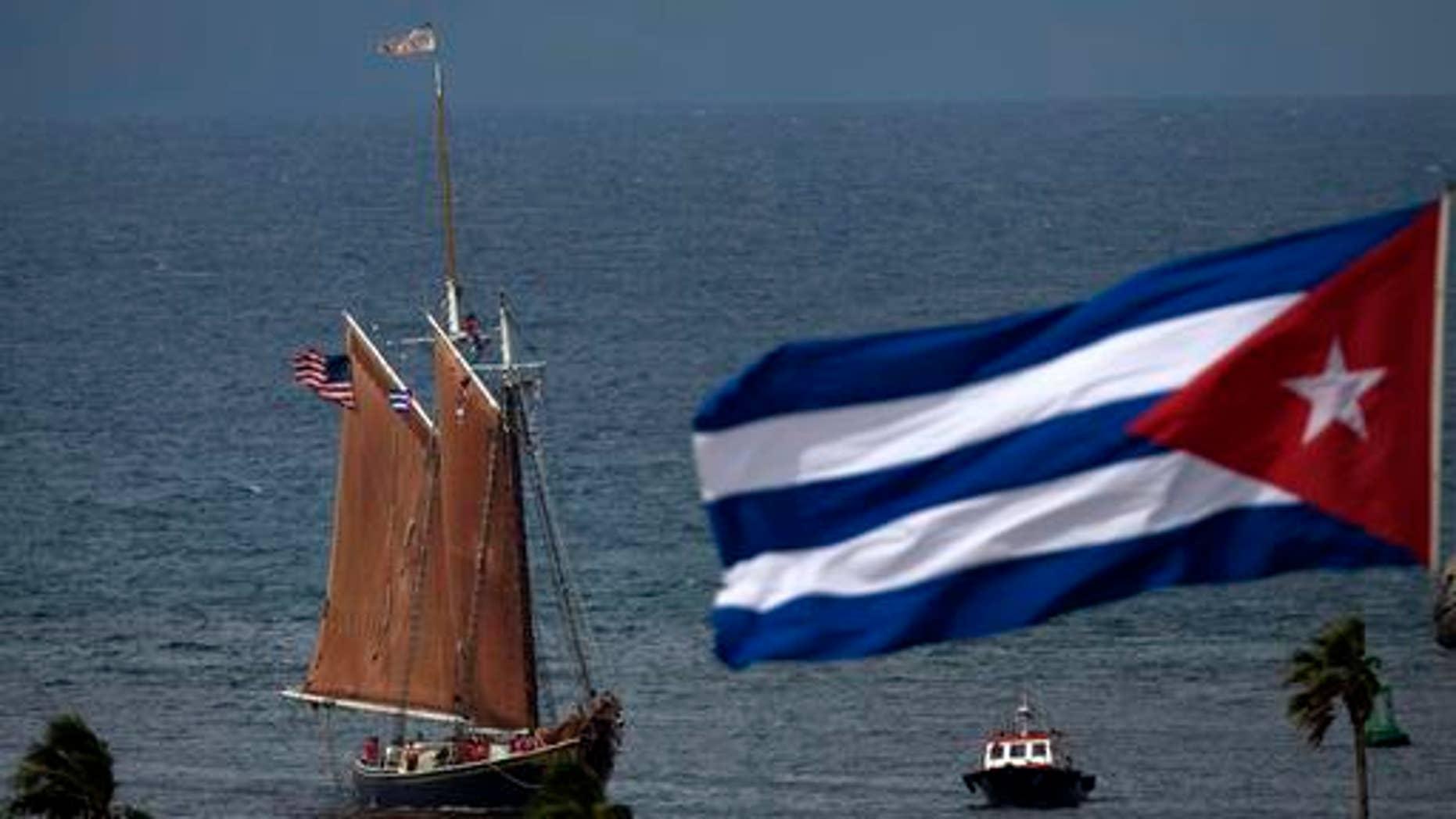 The U.S. tall ship Roseway arrives to Havana's harbor carrying 22 American high school students for a semester-at-sea program World Ocean School, in Havana, Cuba, Tuesday, Oct. 25, 2016. (AP Photo/Ramon Espinosa)