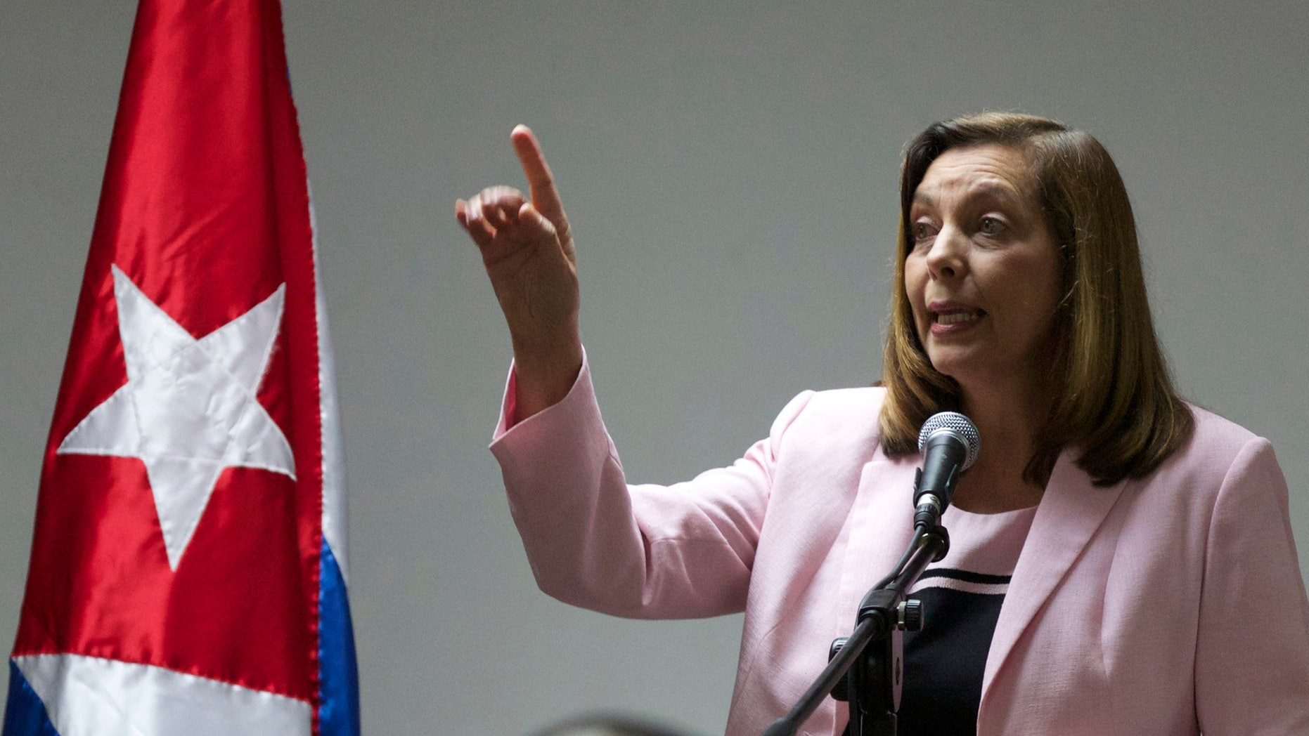 Ministry of Foreign Relations General Director for the United States Josefina Vidal, speaks during a briefing after taking part in talks with the U.S., in Havana, Cuba, Wednesday, Jan. 21, 2015.  The highest-level U.S. delegation to Cuba in decades kicked off two days of negotiations Wednesday after grand promises by President Barack Obama about change on the island and a somber warning from Cuba to abandon hopes of reforming the communist government. (AP Photo/Desmond Boylan)