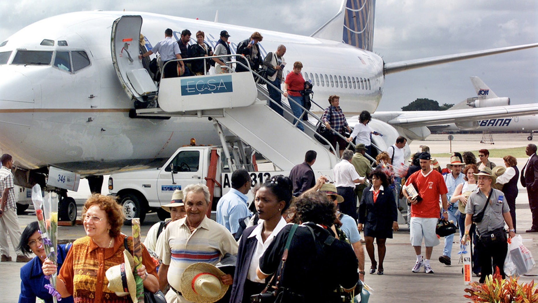 FILE: The first passengers of the first flight of Continental Airlines from Miami Florida, arrives at the Jose Marti Airport of Havana, Cuba.