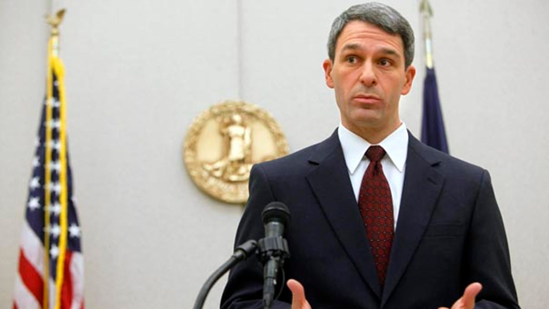 FILE: In this Dec. 13, 2010 photo, Virginia Attorney General Kenneth Cuccinelli speaks about the ruling from U.S. District Judge Henry E. Hudson, who decided in favor of the attorney general's claim that the individual mandate in the health care law is unconstitutional.