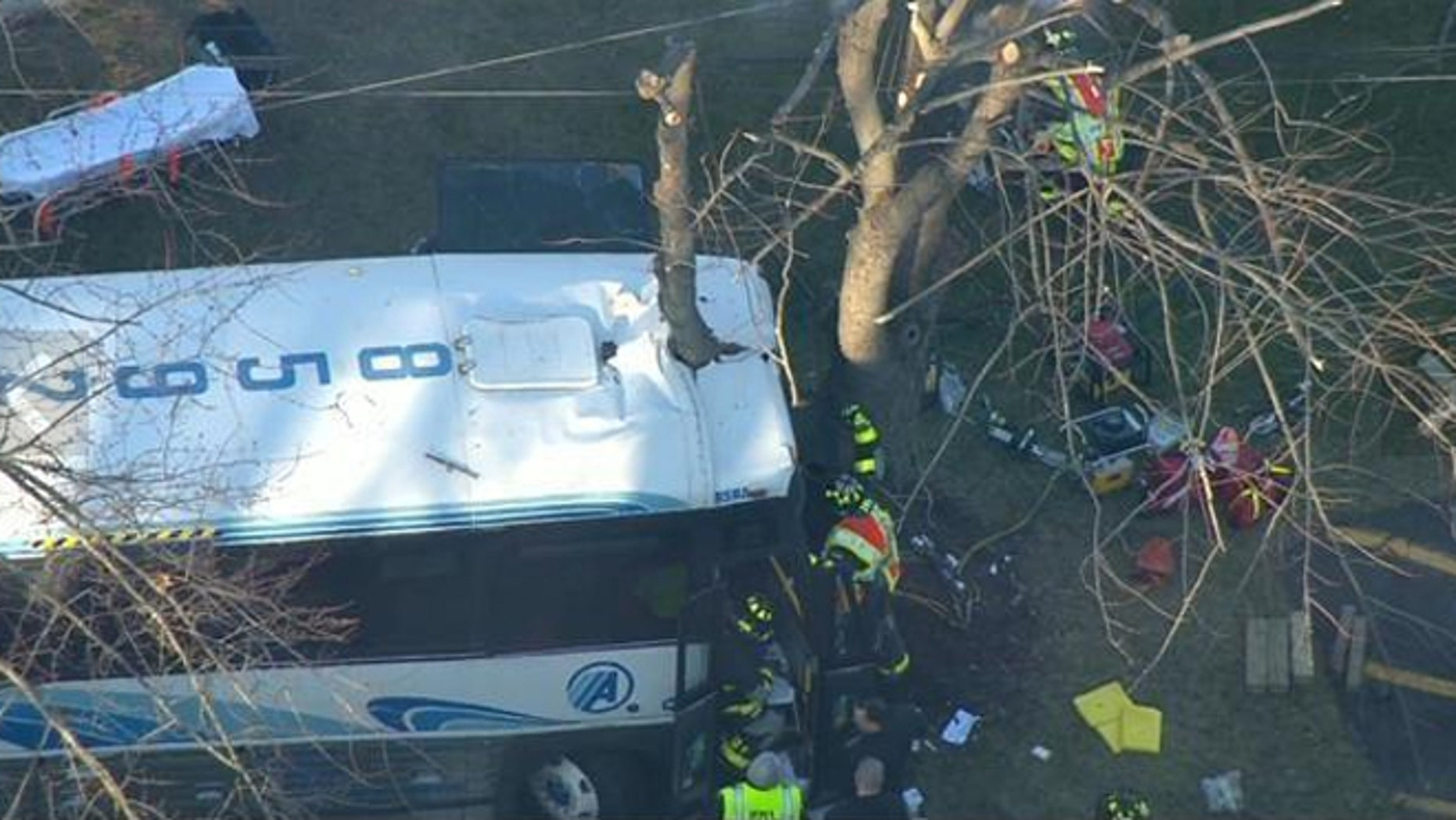 A school bus and a passenger bus were involved in a serious accident on Route 9 in Old Bridge, N.J.