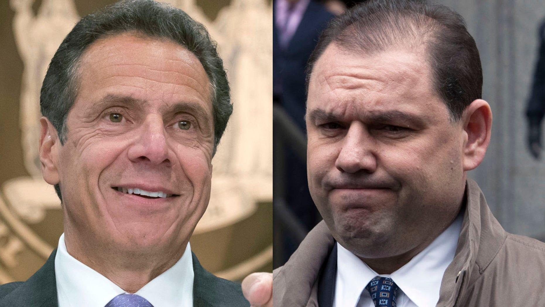 New York Gov. Andrew Cuomo, left, and convicted ex-aide Joseph Percoco.