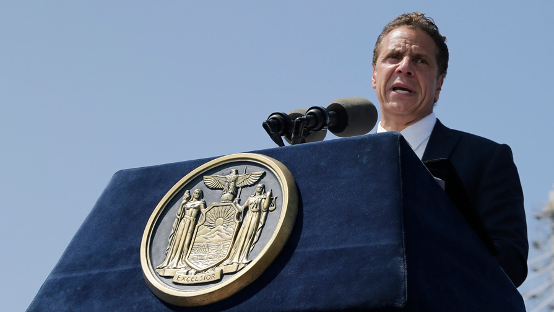 FILE: Aug. 27, 2017: New York Gov. Andrew Cuomo speaks during a ribbon cutting ceremony for the Tappan Zee Bridge replacement, near Tarrytown, N.Y. (AP)