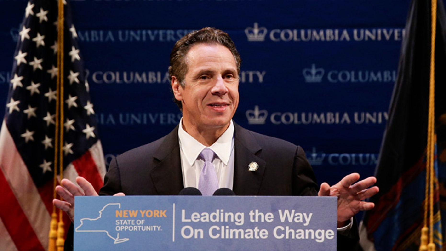 Oct. 8, 2015: New York Governor Andrew Cuomo announces New York's involvement in the Under 2 MOU coalition in New York.  (AP)