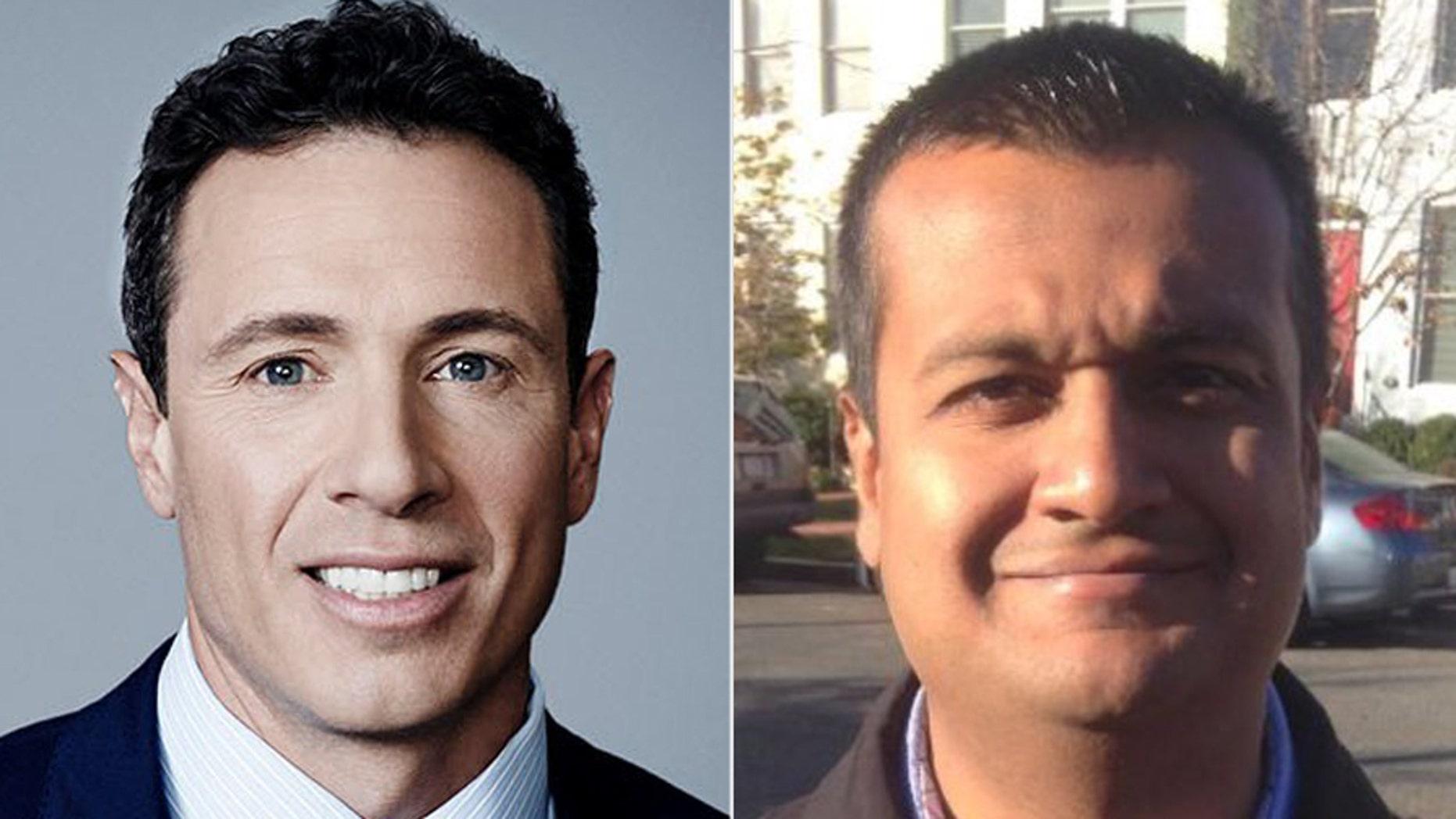 "CNN's ""New Day"" co-host Chris Cuomo, left, botched the name of Principal Deputy White House Press Secretary Raj Shah as ""Raj whatever-his-name-is.""  (CNN, Twitter)"