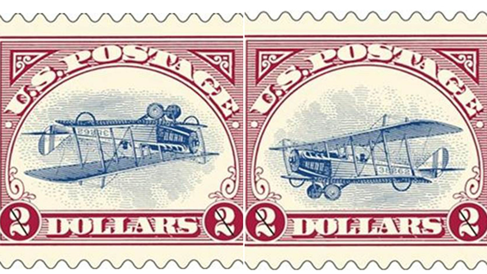 """In this combination of two 2013 photos released by the United States Postal Service, a reissue of two versions of the famous """"Inverted Jenny"""" postage stamp is shown. The original 1918 stamp was printed with the upside-down bi-plane by mistake. The """"mistake"""" was reissued by the USPS along with a limited run of corrected stamps in 2013 as a way to bring more people into stamp collecting. Art Van Riper, a western New York stamp collector, acted on a hunch and secured one of only 100 sheets of the corrected """"Inverted Jenny."""""""